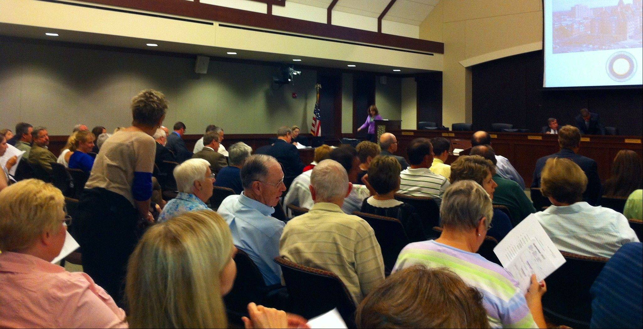 Residents pack the Arlington Heights village board meeting Tuesday night as trustees approved a major renovation project at Lutheran Home.