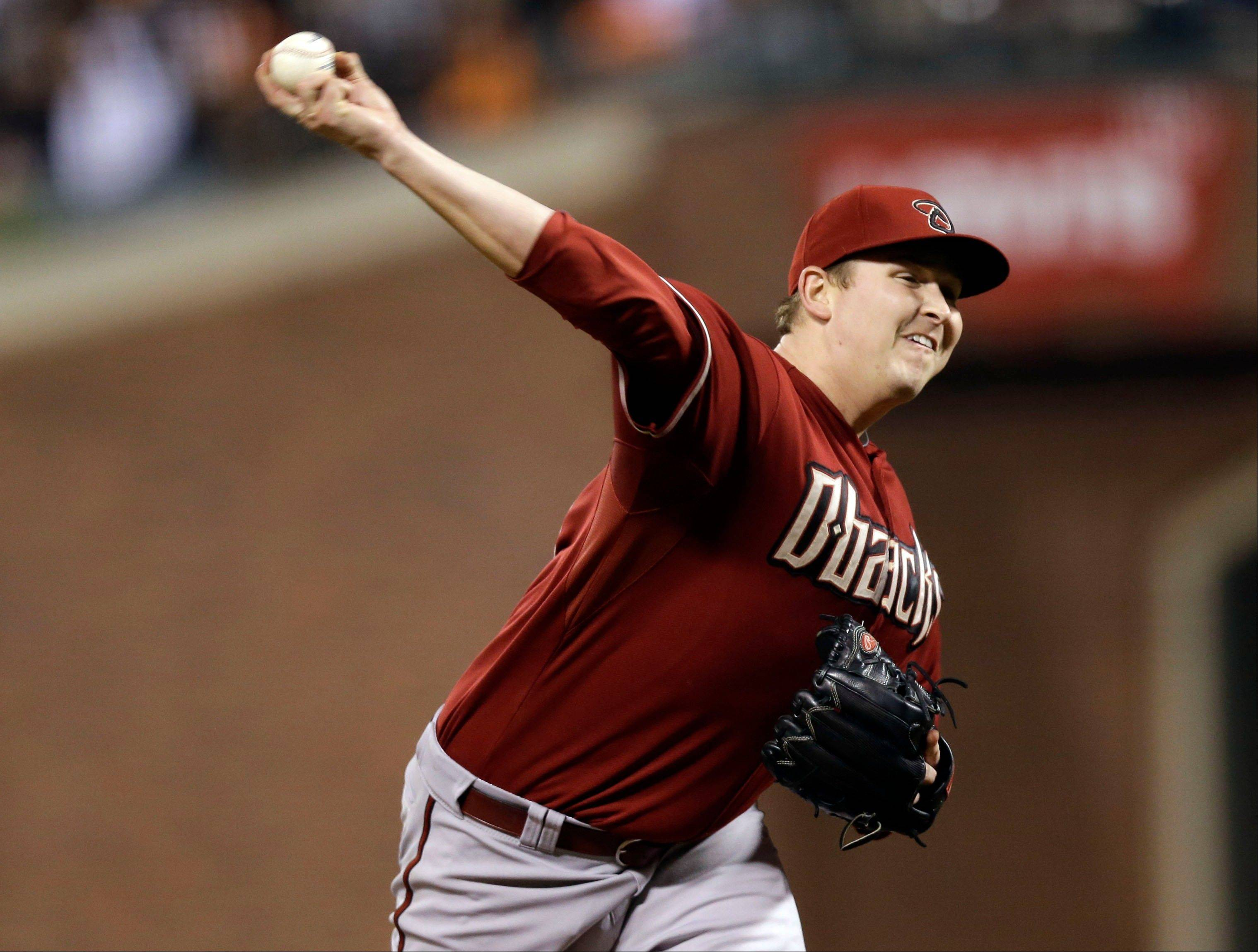Arizona Diamondbacks starter Trevor Cahill retired the first 16 batters he faced Wednesday in San Francisco.