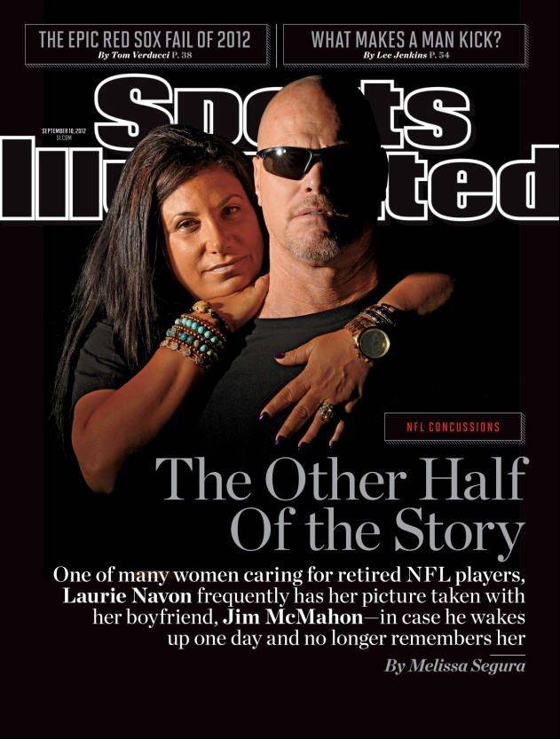 Laurie Navon wraps her arms around her boyfriend, former Bears quarterback Jim McMahon, who is struggling with early on-set dementia and other health issues since he retired from the NFL. The Sept. 10 issue of Sports Illustrated, on newsstands now, tells their story along with other women now caring for former NFL stars.