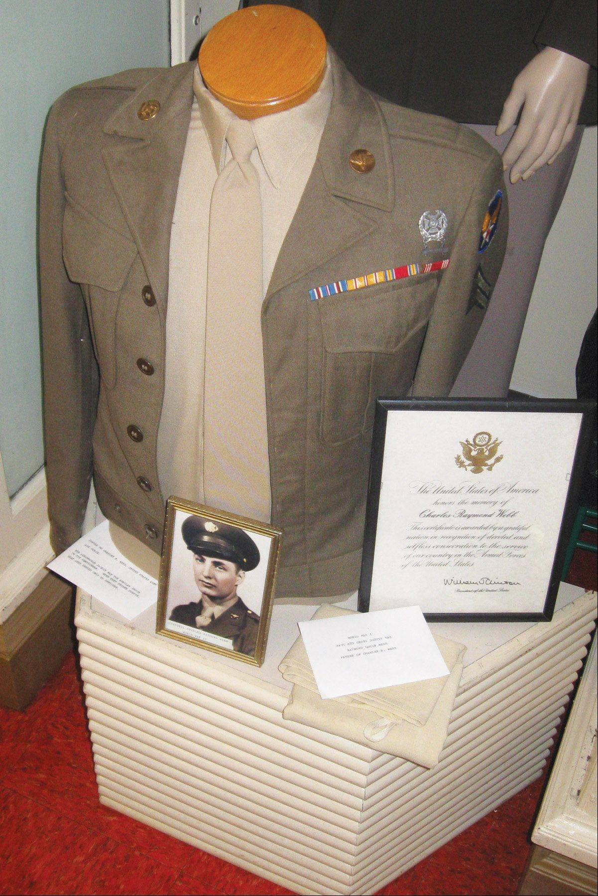 A veteran's uniform is part of the Fort Hill Heritage Museum display.