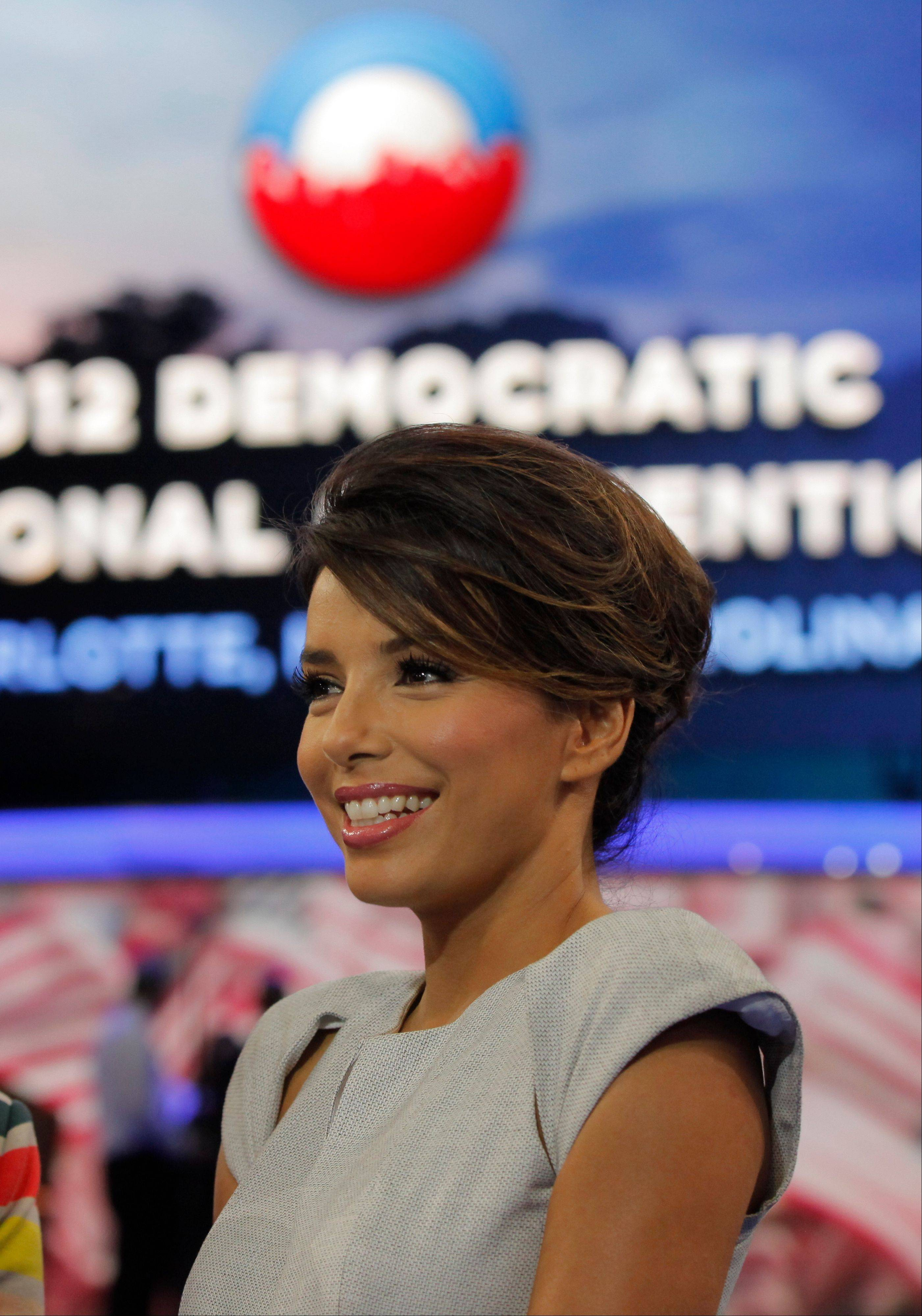 Actress Eva Longoria is interviewed on the floor of the Democratic National Convention in Charlotte, N.C.