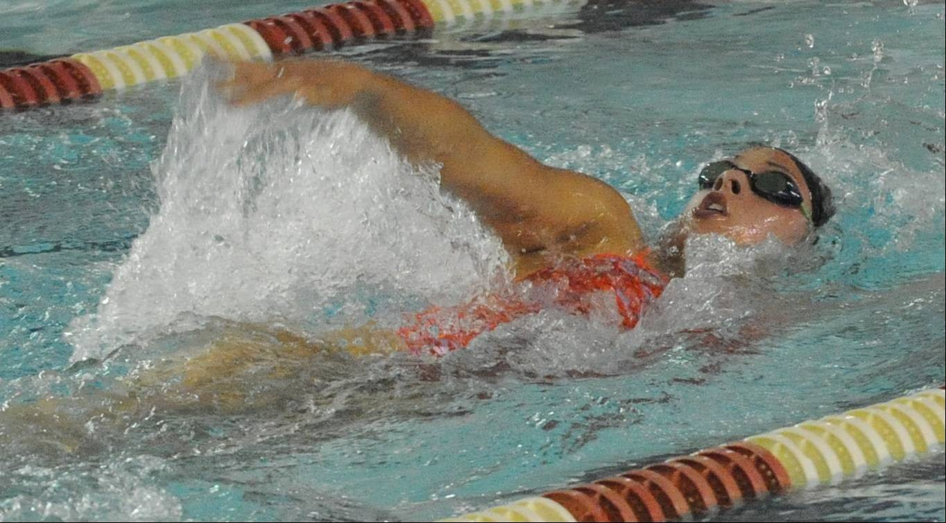 Hersey senior Amanda Petro heads toward victory in the 200-meter IM on Thursday at Palatine.