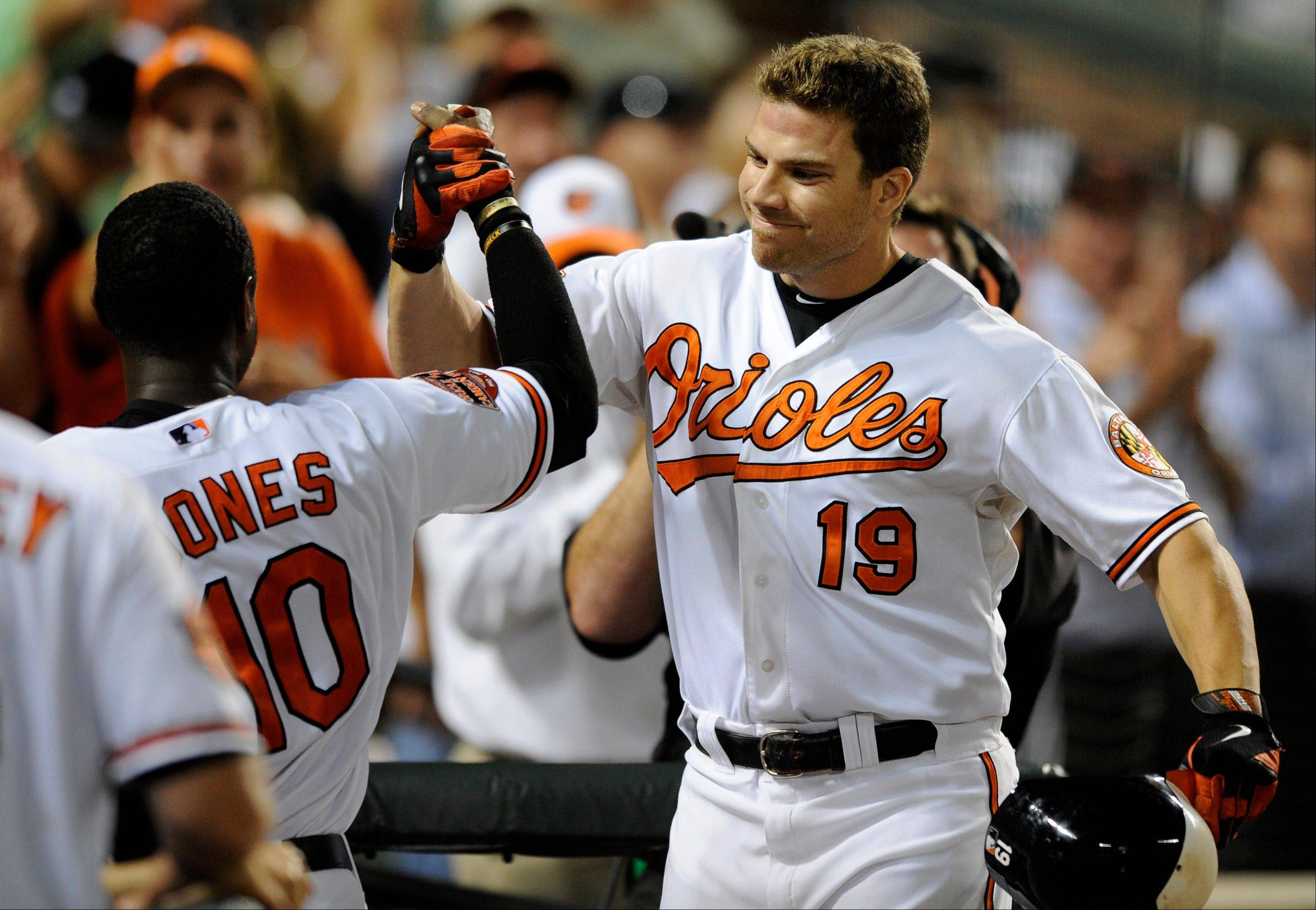 The Orioles� Chris Davis celebrates his home run with Adam Jones, left, during the eighth inning Thursday at home against the New York Yankees.