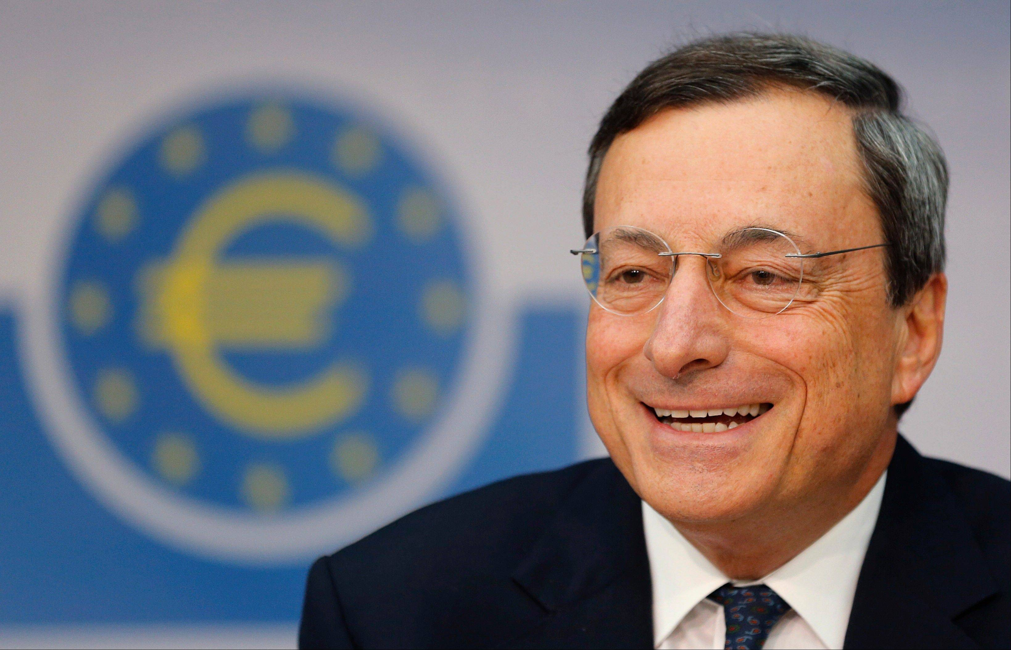 President of European Central Bank Mario Draghi listens to questions during a news conference in Frankfurt, Germany, Thursday, following a meeting of the ECB governing council on the European financial crisis.