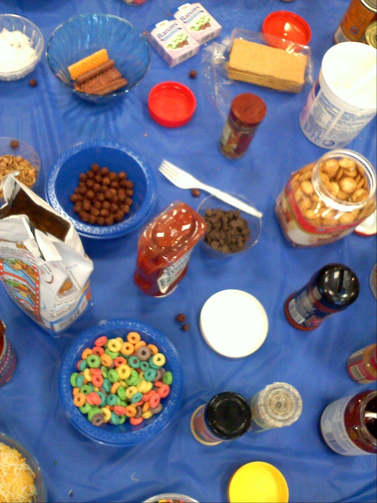 Teen cooks had to use cucumbers and any number of items from this eclectic pantry to create after-school snacks.