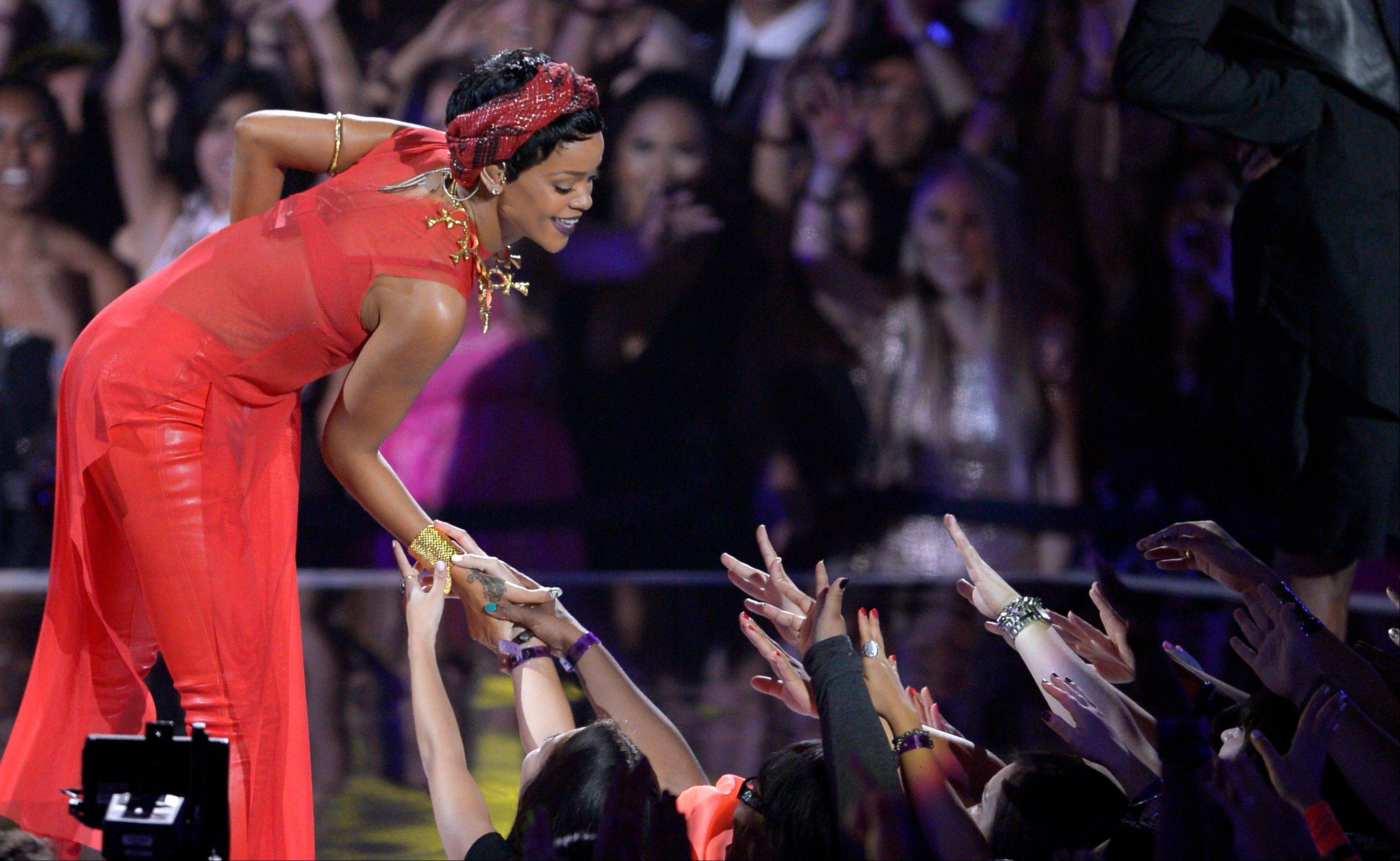 Rihanna performs at the MTV Video Music Awards on Thursday, Sept. 6, 2012, in Los Angeles.