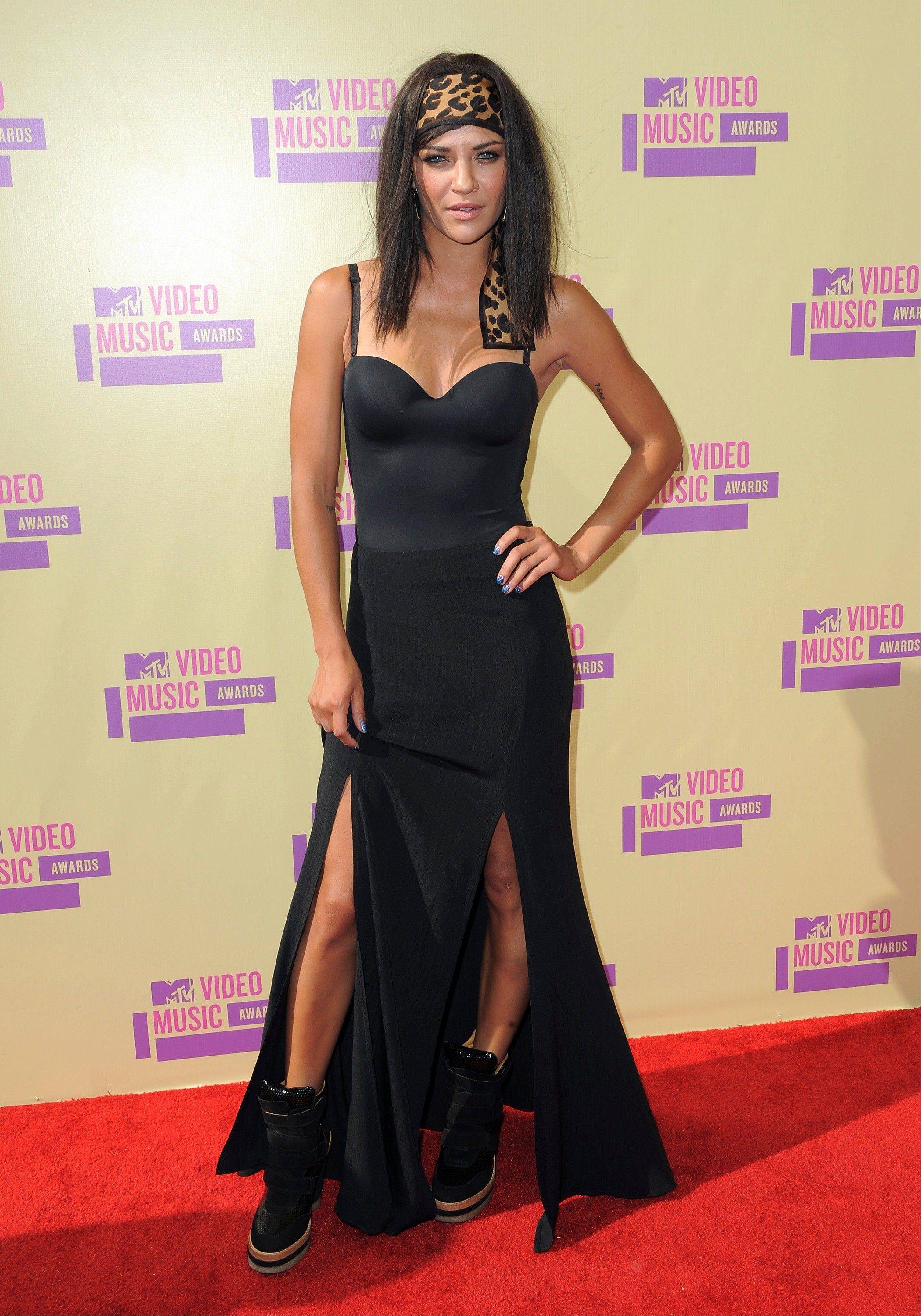 Actress Jessica Szohr attends the MTV Video Music Awards on Thursday, Sept. 6, 2012, in Los Angeles.