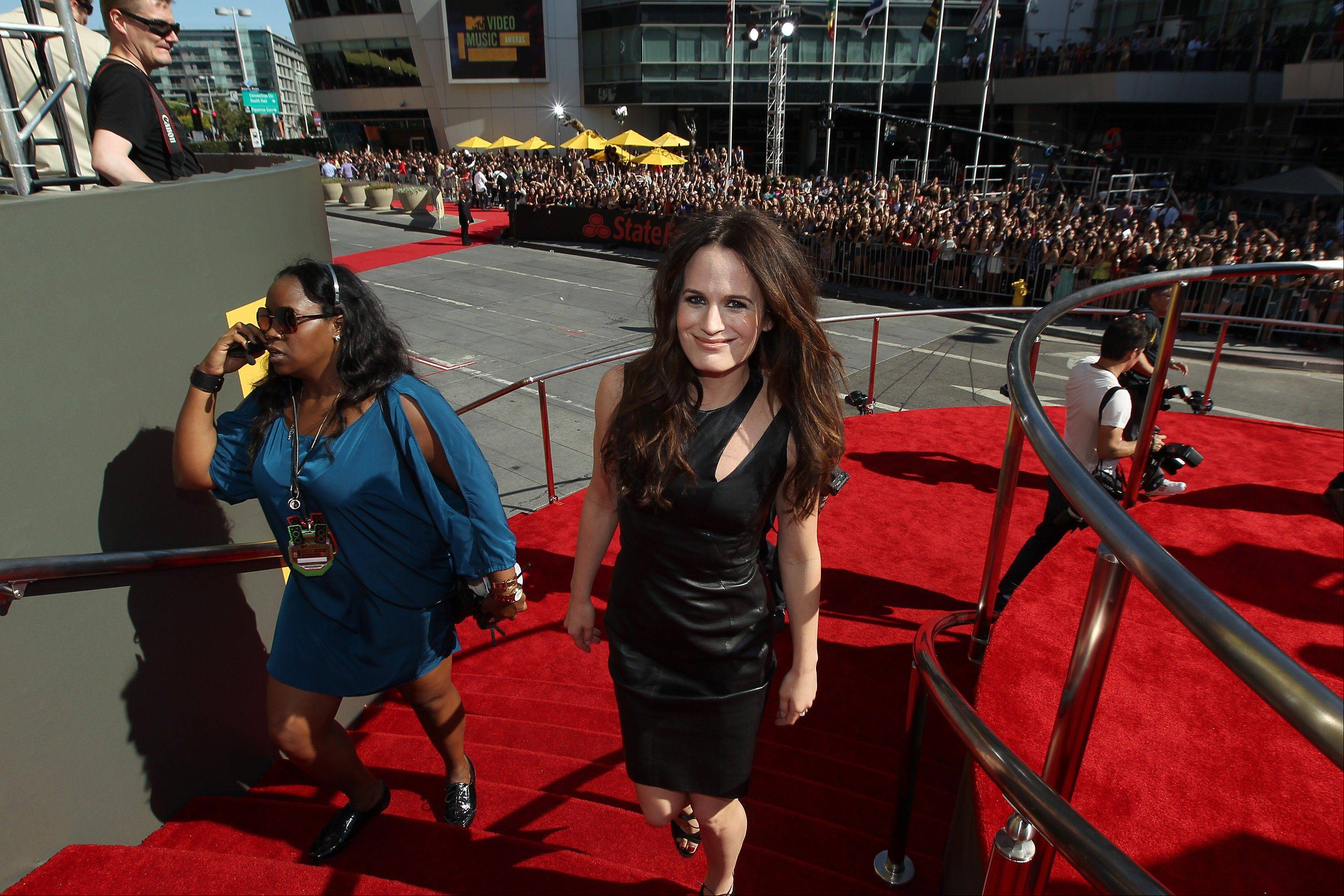 Actress Elizabeth Reaser arrives at the MTV Video Music Awards on Thursday, Sept. 6, 2012, in Los Angeles.