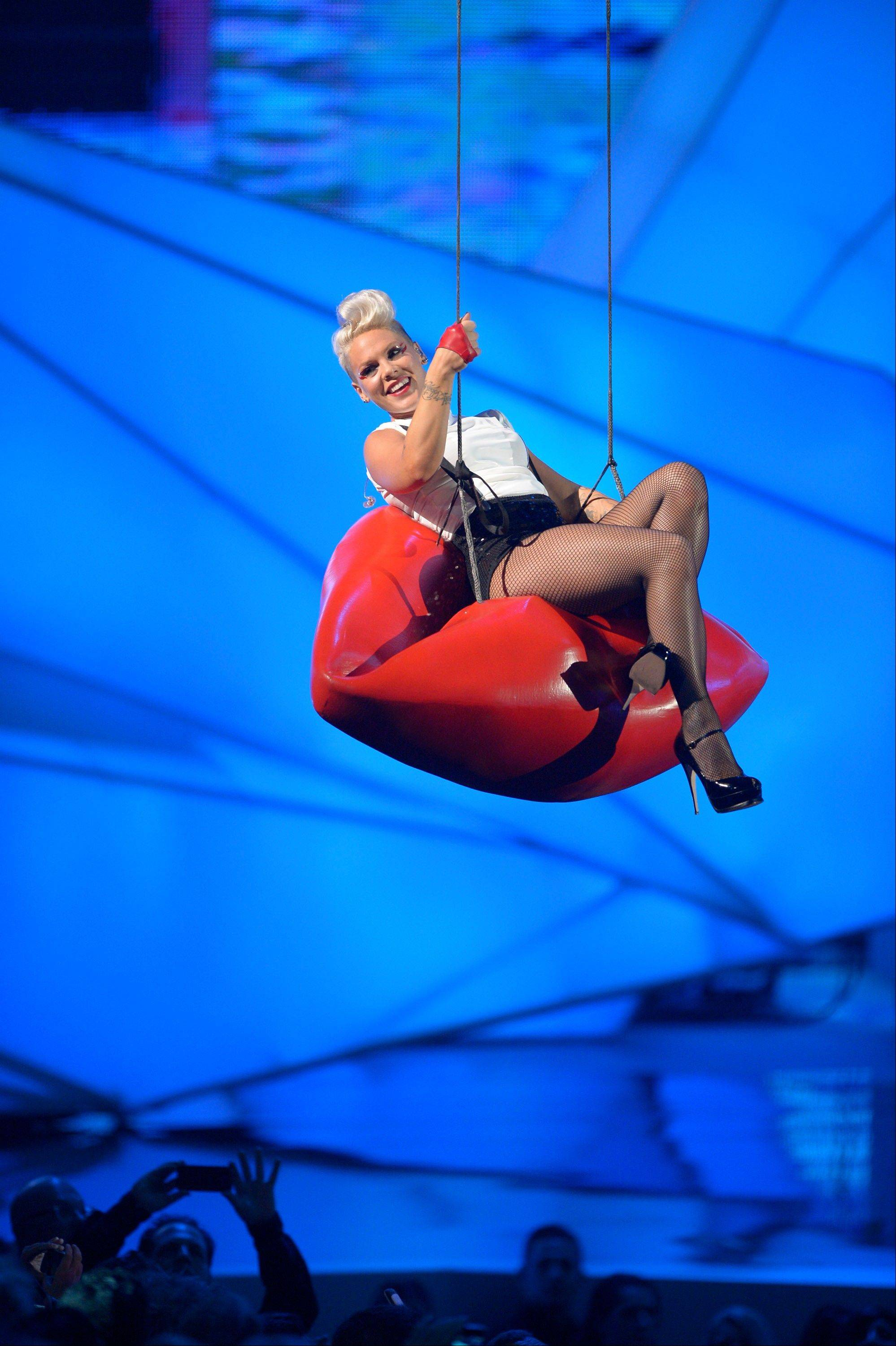 Pink performs at the MTV Video Music Awards on Thursday, Sept. 6, 2012, in Los Angeles.