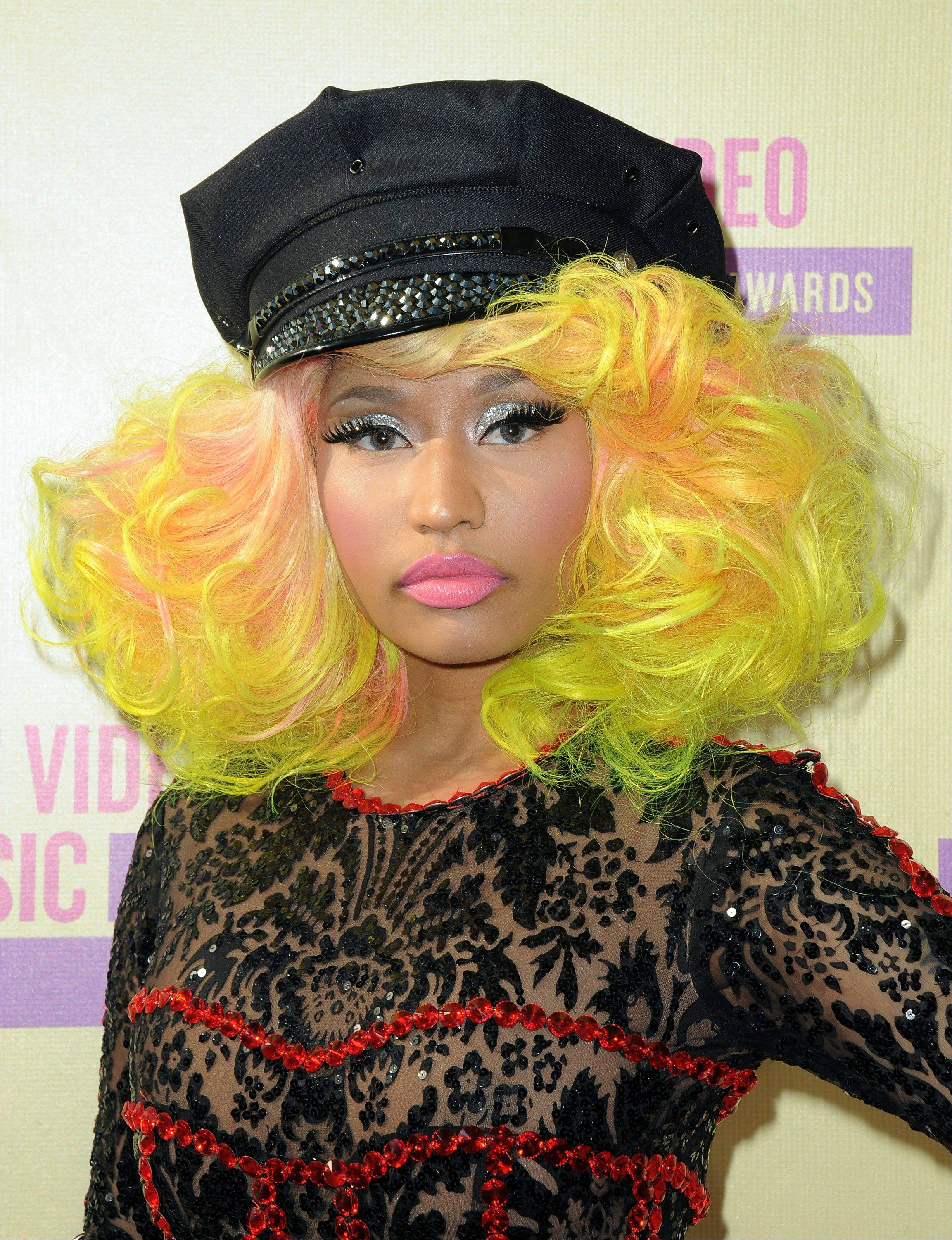 Nicki Minaj arrives at the MTV Video Music Awards on Thursday, Sept. 6, 2012, in Los Angeles.