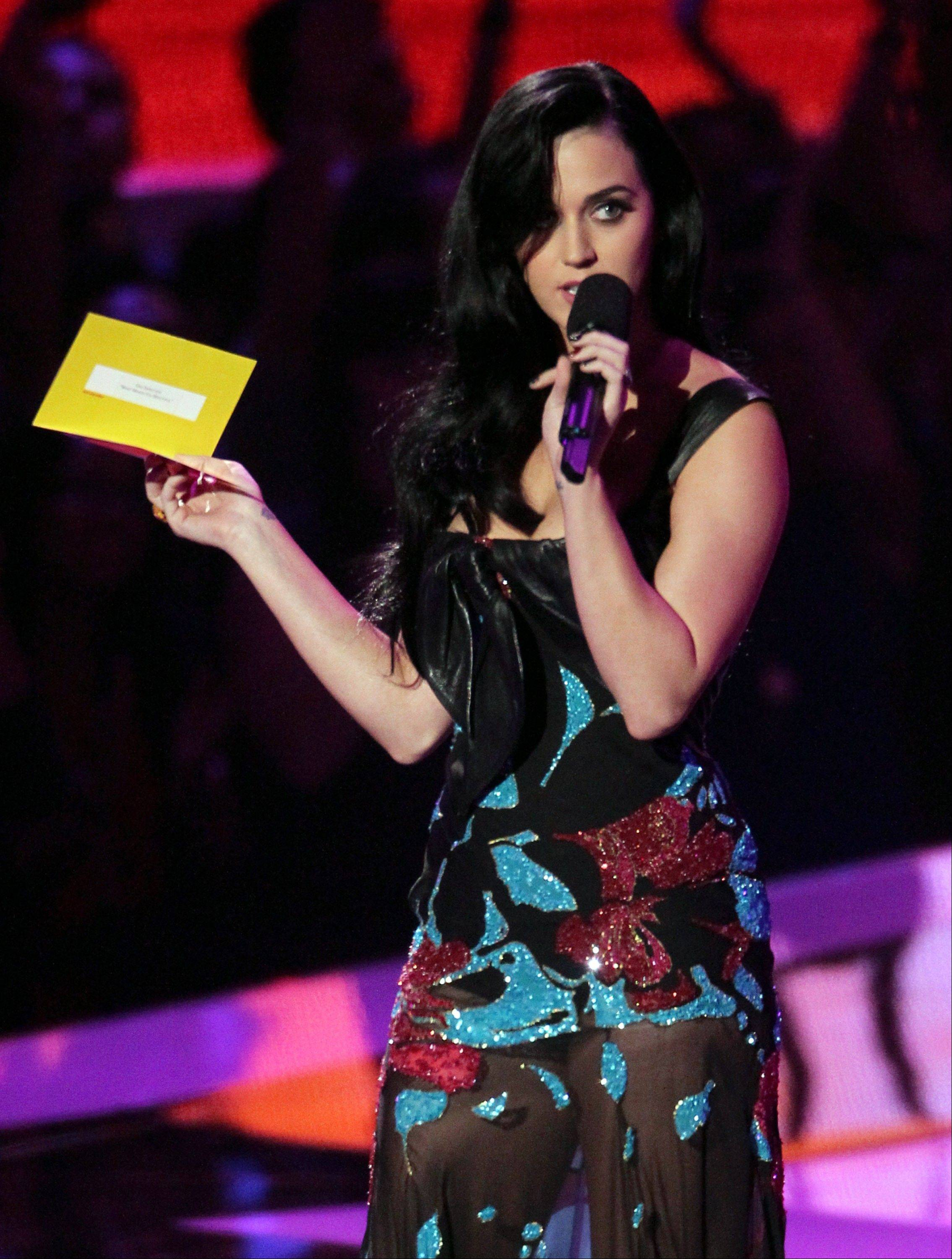 Katy Perry speaks onstage at the MTV Video Music Awards on Thursday, Sept. 6, 2012, in Los Angeles.