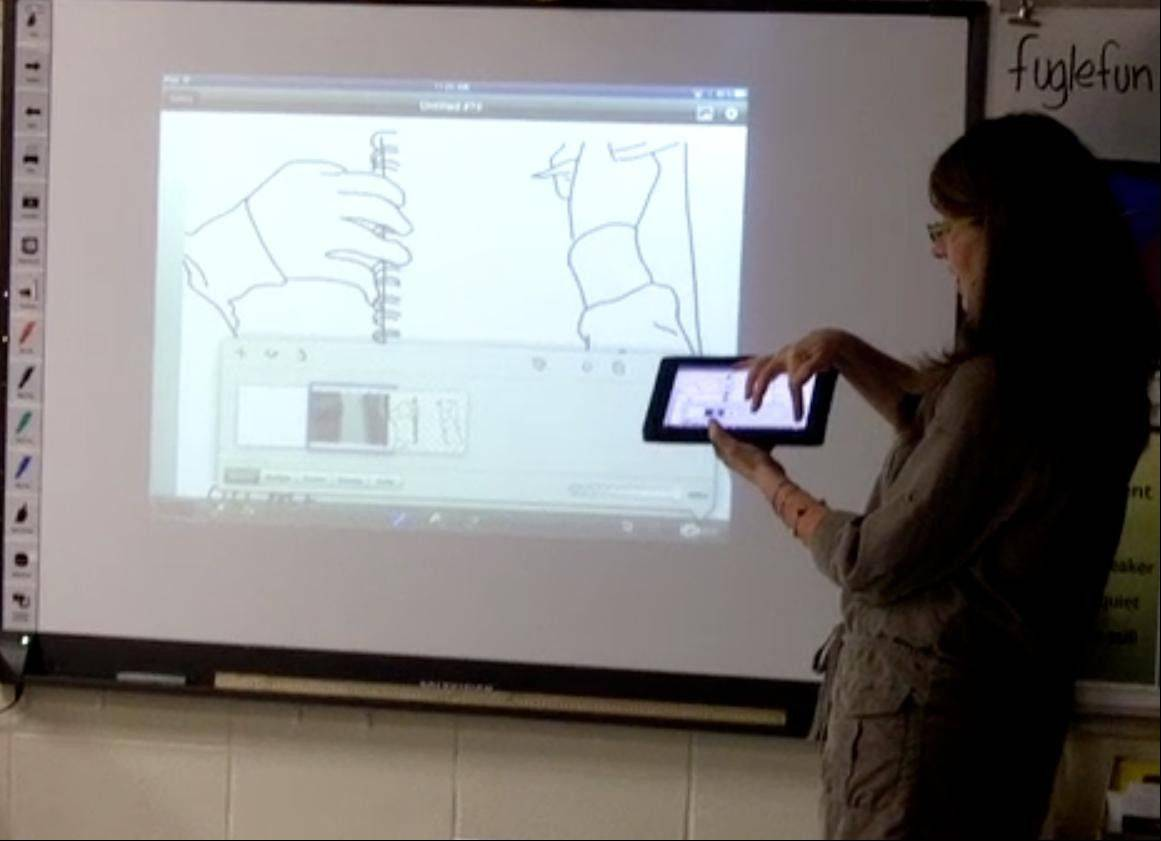 Dryden Elementary School Art Teacher Tricia Fuglestad works with her students on their rotoscope animation project.