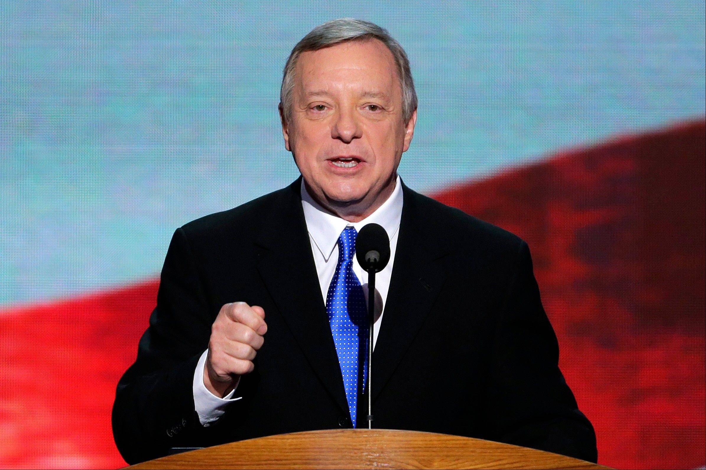 Sen. Dick Durbin of Illinois addresses the Democratic National Convention in Charlotte, N.C., on Thursday.