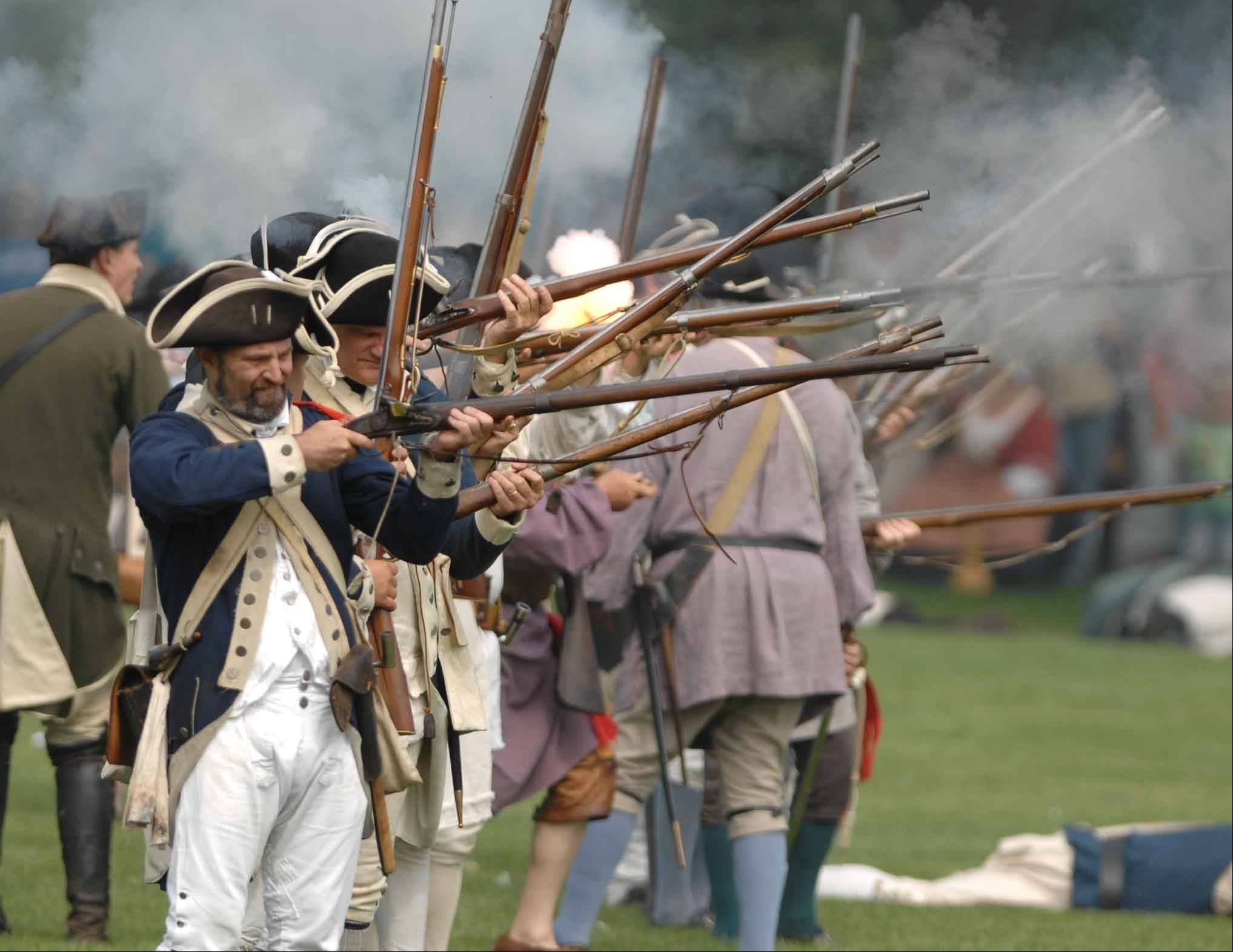 Re-enactors at Cantigny won't act out real battles from the Revolutionary War, but instead will demonstrate the strategies colonial and British armies used at the time.