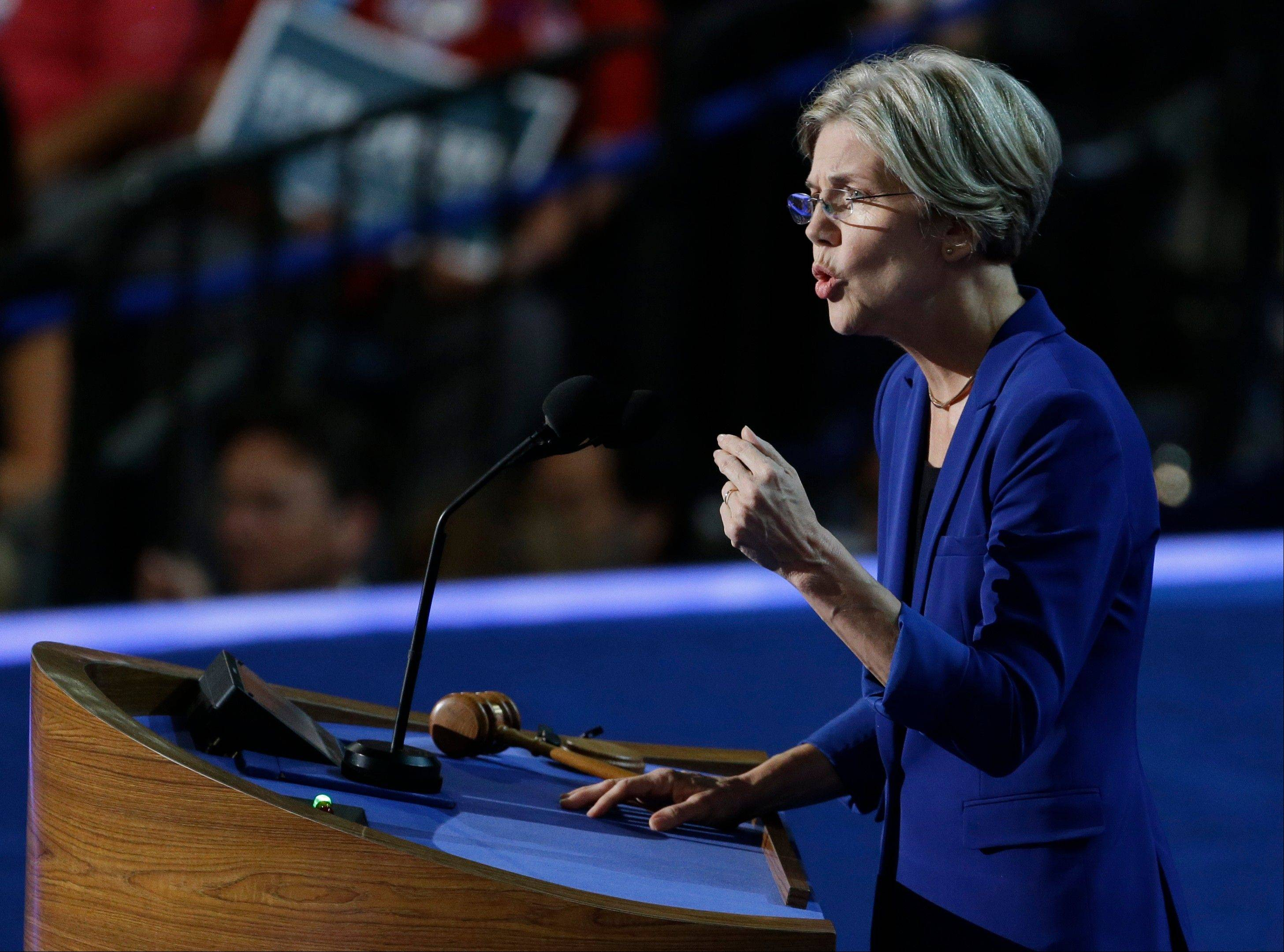 Massachusetts Senate candidate Elizabeth Warren speaks to delegates at the Democratic National Convention in Charlotte, N.C., on Wednesday.