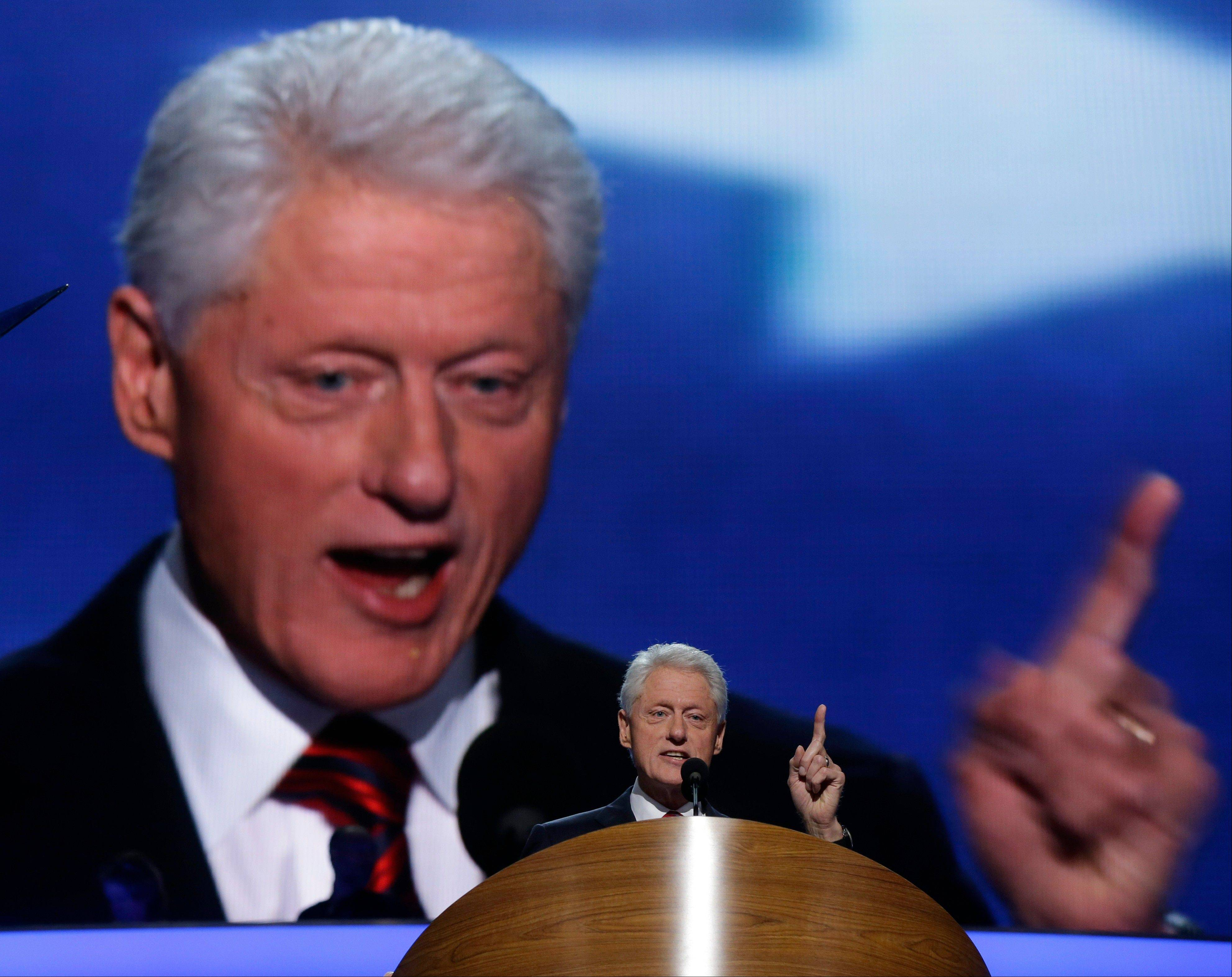 Former President Bill Clinton addresses the Democratic National Convention in Charlotte, N.C., Wednesday night.