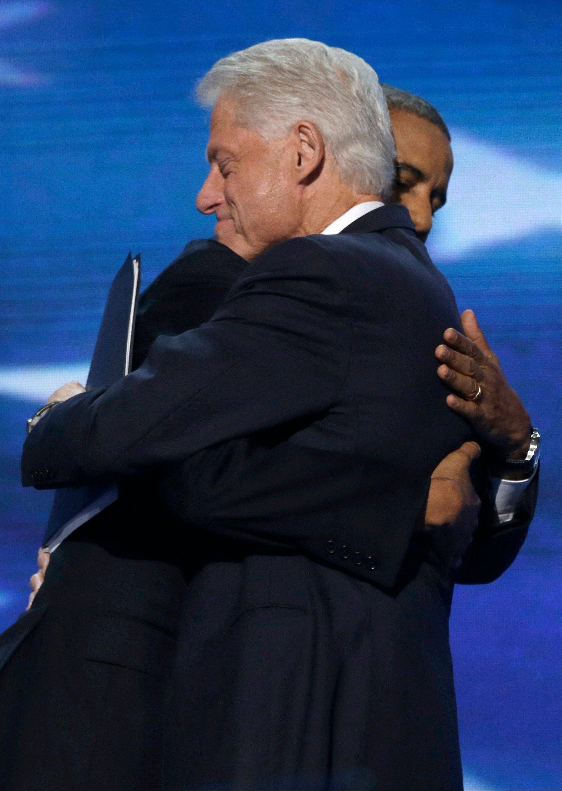 President Barack Obama hugs former President Bill Clinton during the Democratic National Convention in Charlotte, N.C., on Wednesday.