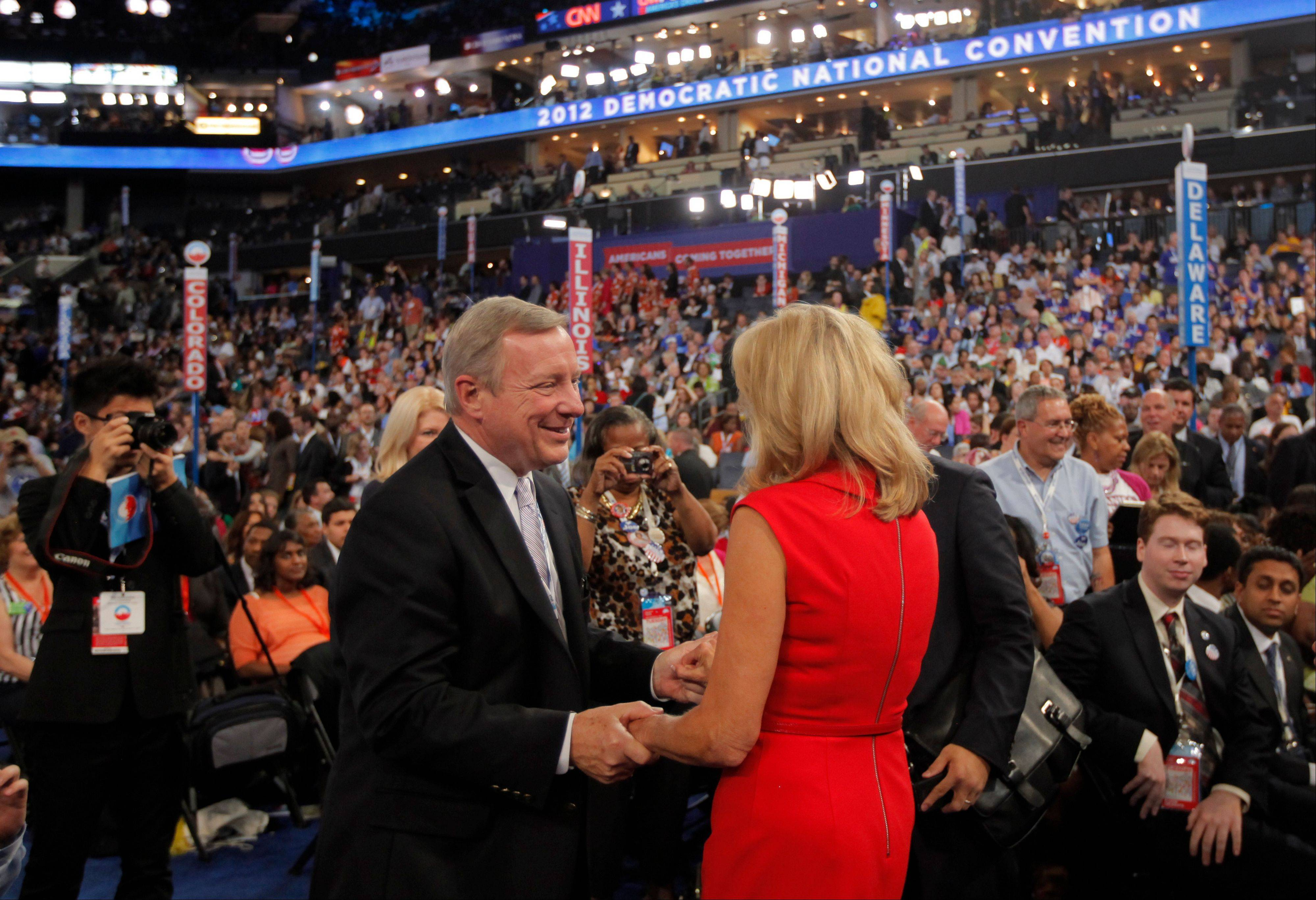 U.S. Sen. Dick Durbin shakes hands with Jill Biden during the Democratic National Convention in Charlotte, N.C., on Tuesday.