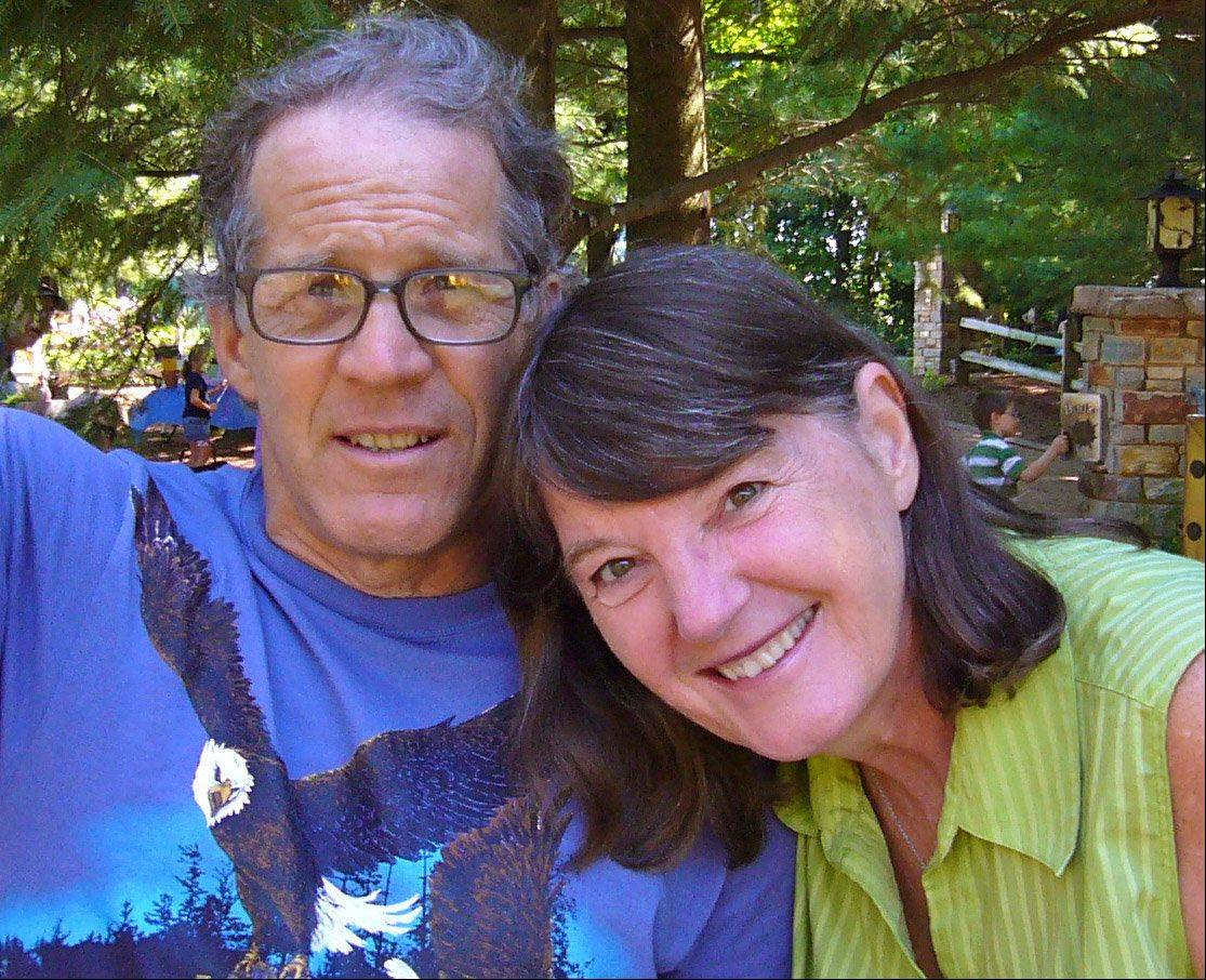 Karl Schmidt, shown here with his wife, Fran, died trying to save his grandson Sunday at a beach in Wisconsin.