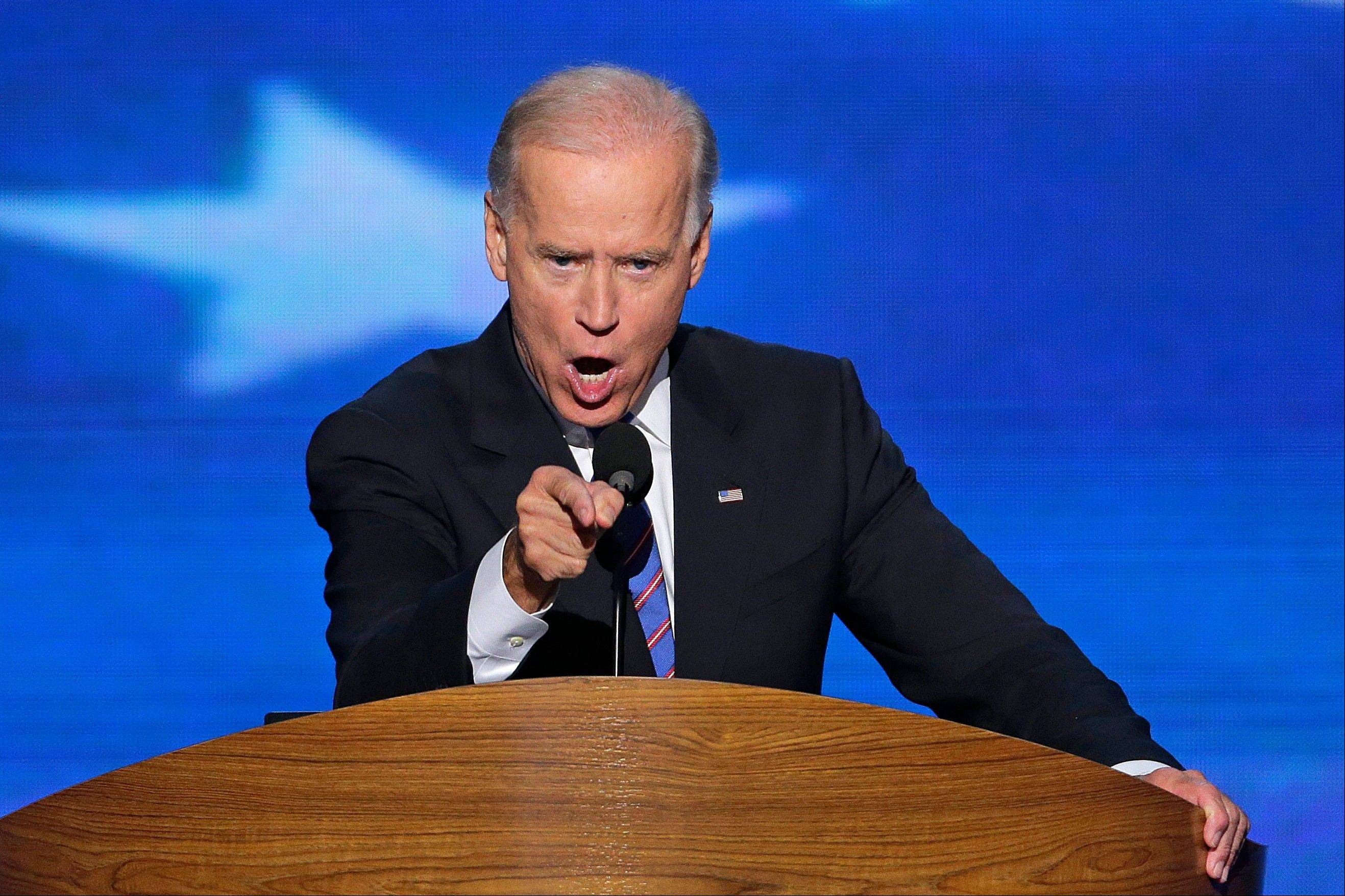 Vice President Joe Biden addresses the Democratic National Convention in Charlotte, N.C., on Thursday, Sept. 6, 2012.
