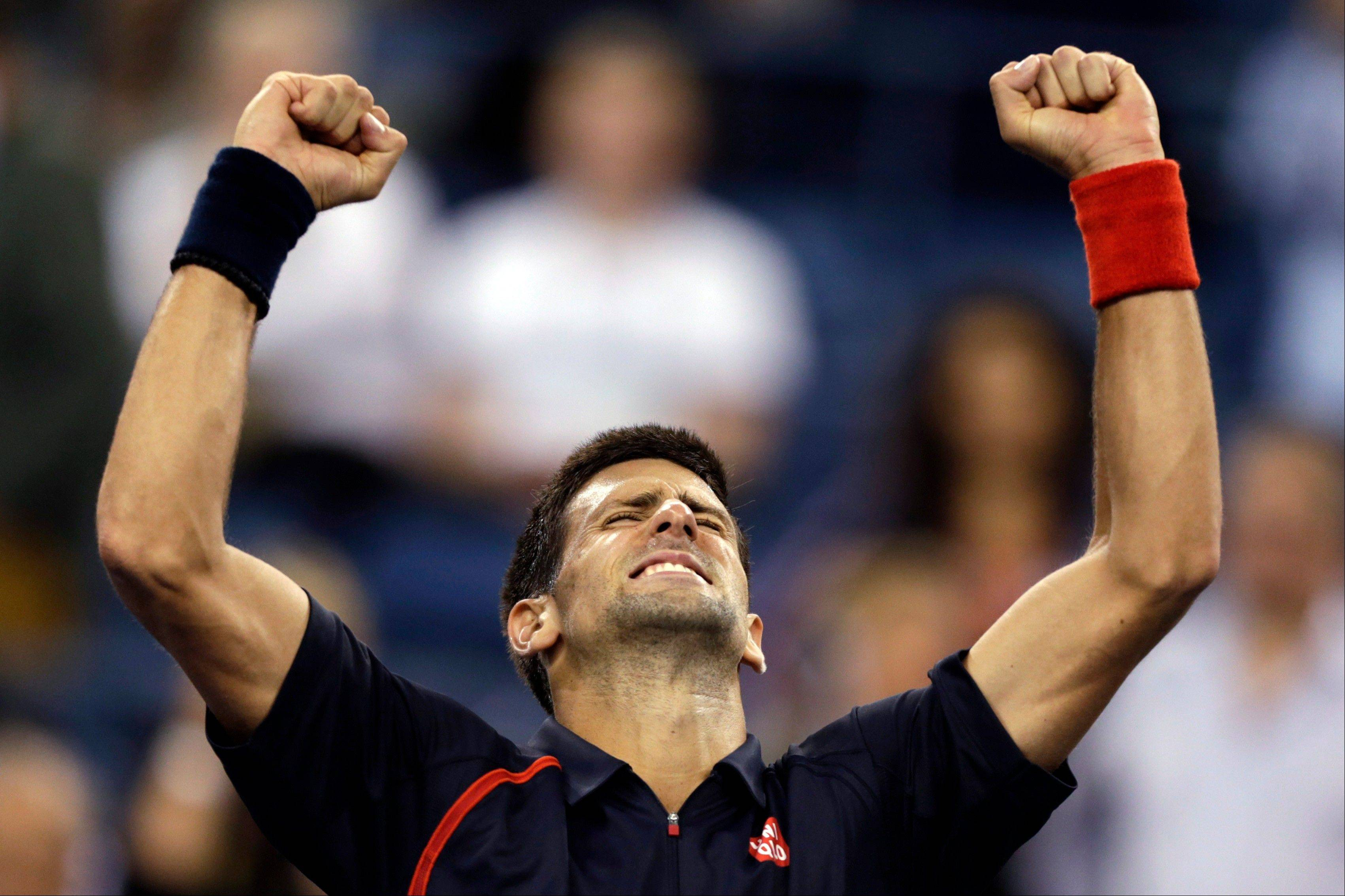 Novak Djokovic celebrates after defeating Juan Martin del Potro in the quarterfinal round of play Thursday at the U.S. Open in New York.