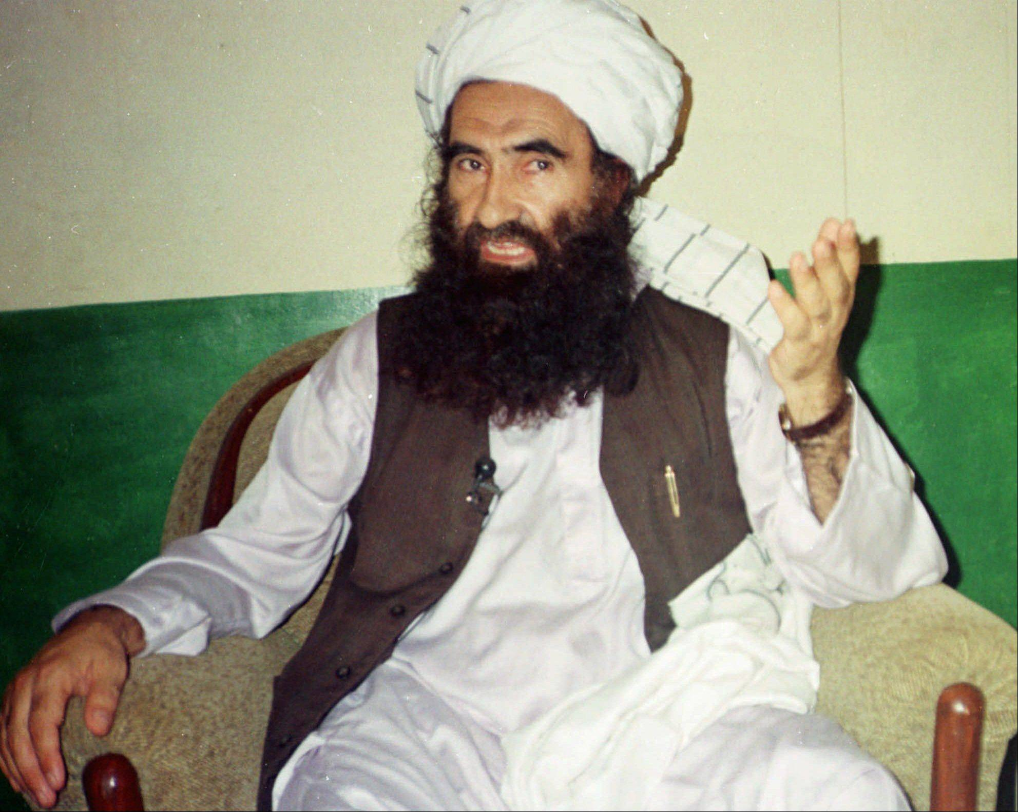 In this 1998 photo, Jalaluddin Haqqani, founder of the militant group the Haqqani network, speaks during an interview in Miram Shah, Pakistan. The Obama administration has formally designated the Pakistan-based Haqqani network as a foreign terrorist organization, U.S. officials said Friday, in a complicated political decision as the U.S. withdraws from Afghanistan and pushes for a reconciliation pact to end more than a decade of warfare.