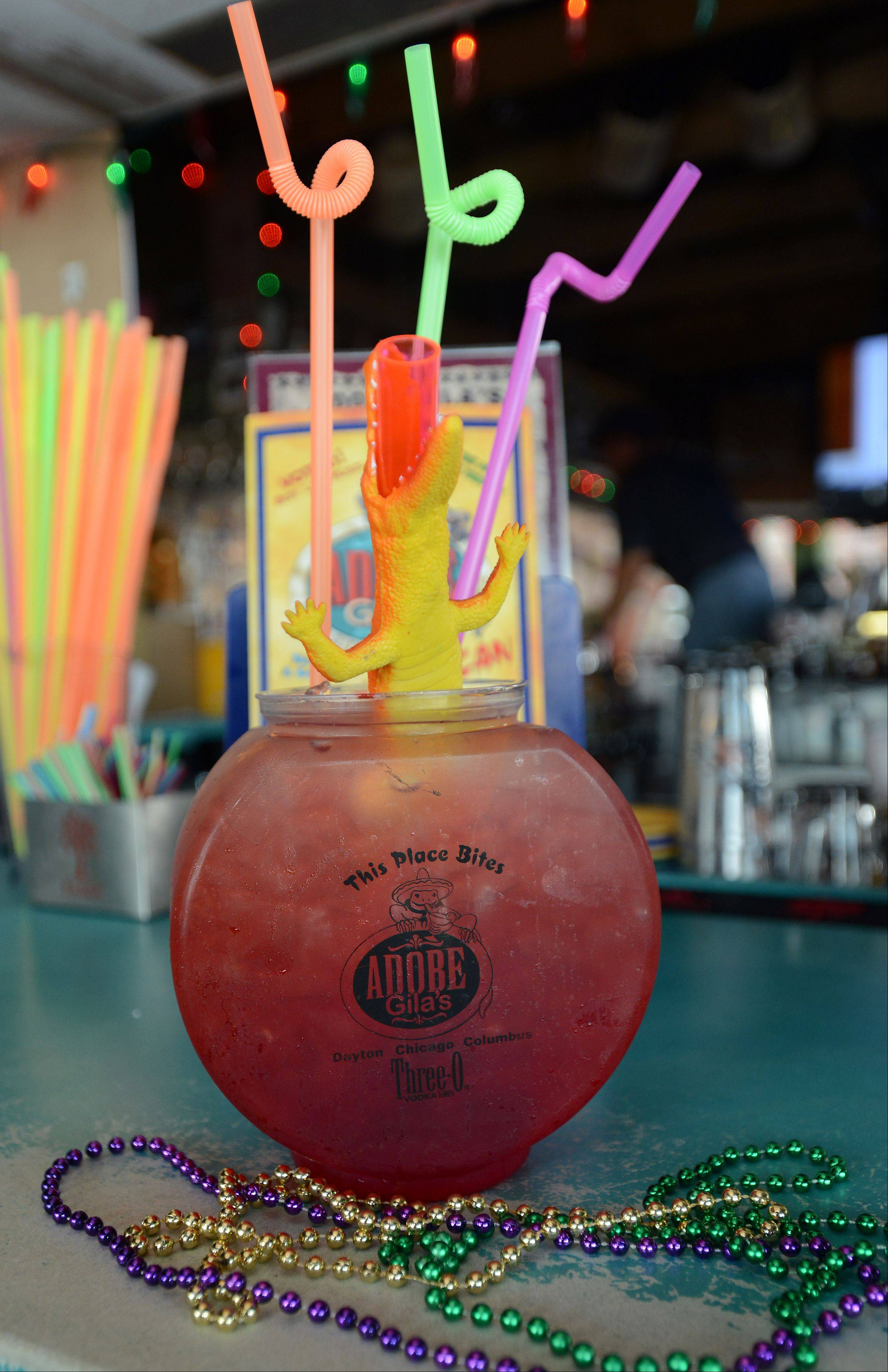 Thirsty? Invite a few friends to tackle an 84-ounce fish bowl filled with colorful alcohol at Adobe Gila's in Rosemont.