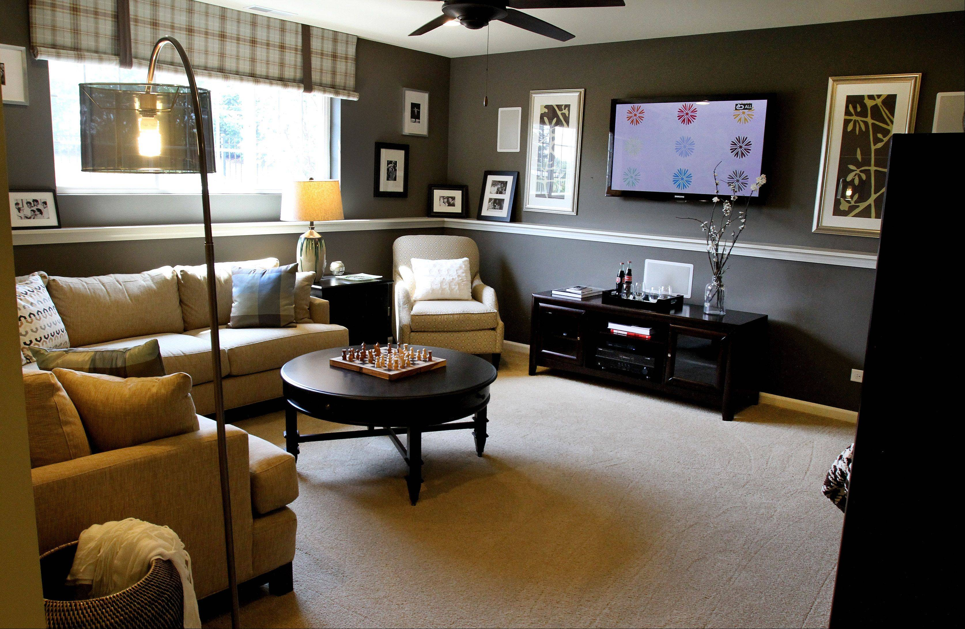 The lower level in the Cardiff model at Easton Park in Carol Stream has a large, informal gathering area.
