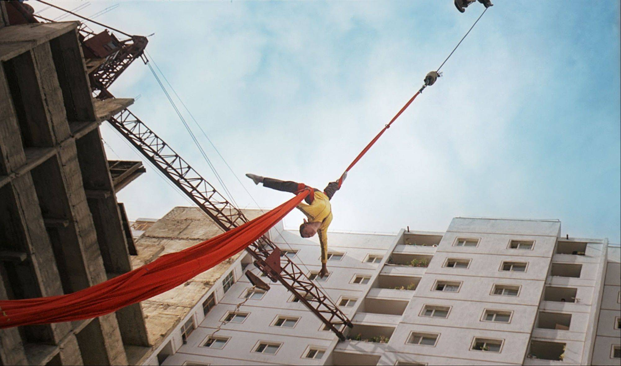 "Associated Press Kim Yong Mi is pulled up in the air by a crane in ths scene. ""Comrade Kim Goes Flying"" is a collaboration between a North Korean director and two European filmmakers."