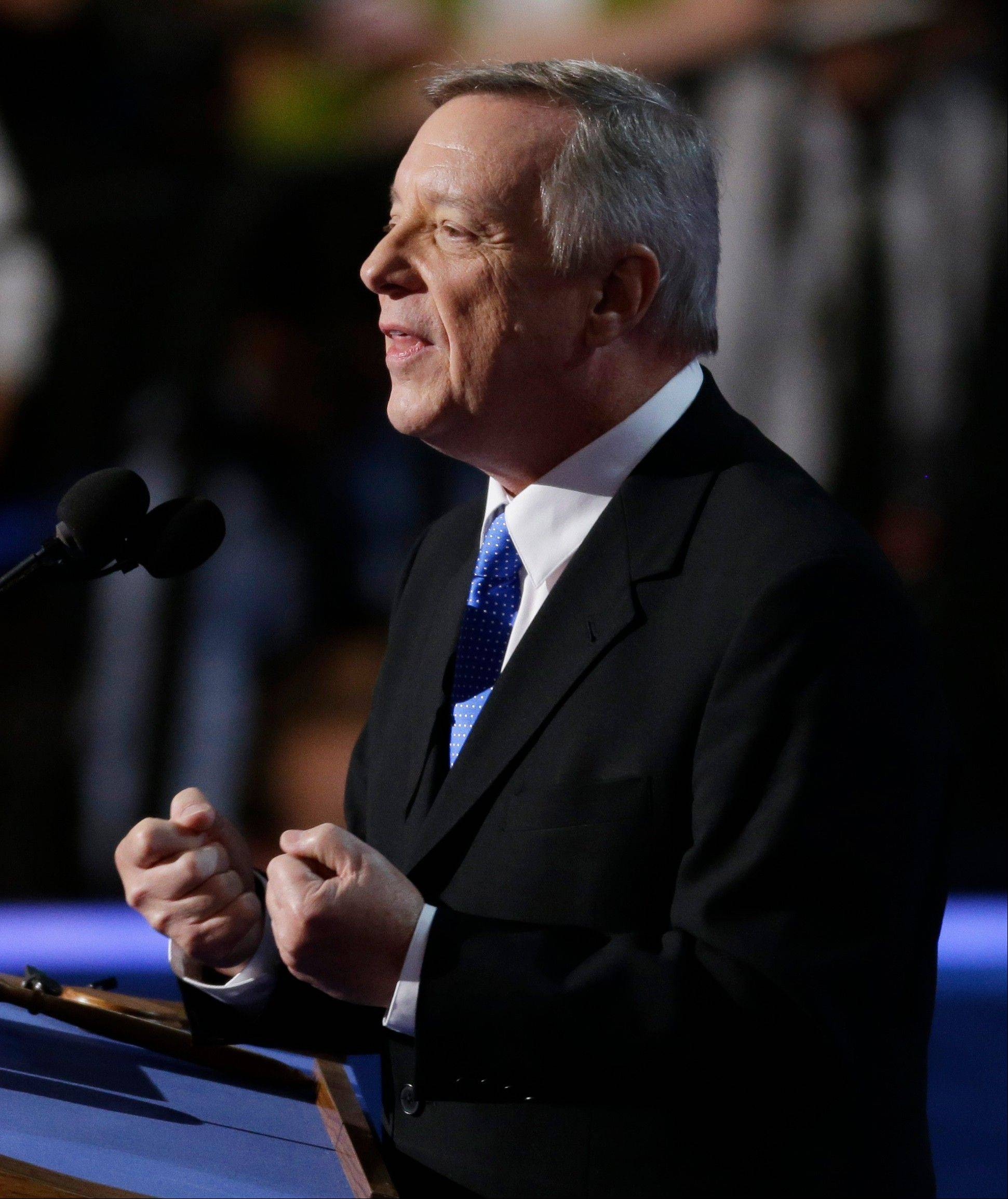 Sen. Dick Durbin of Illinois speaks to delegates at the Democratic National Convention in Charlotte, N.C., last night, preceding Barack Obama for the third DNC in a row.