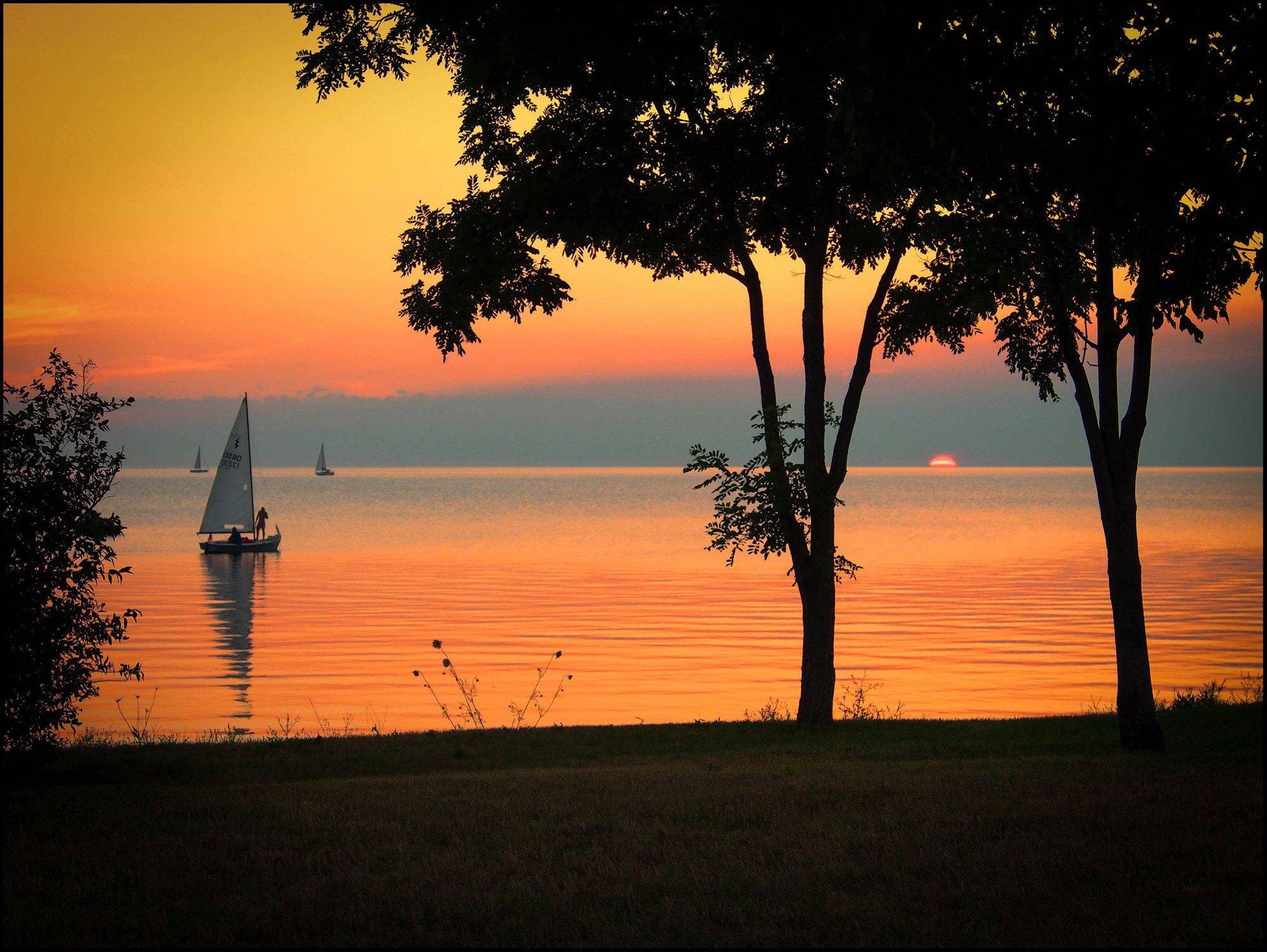 The sun sets over Sister Bay in Door County, Wisconsin on July 21st.