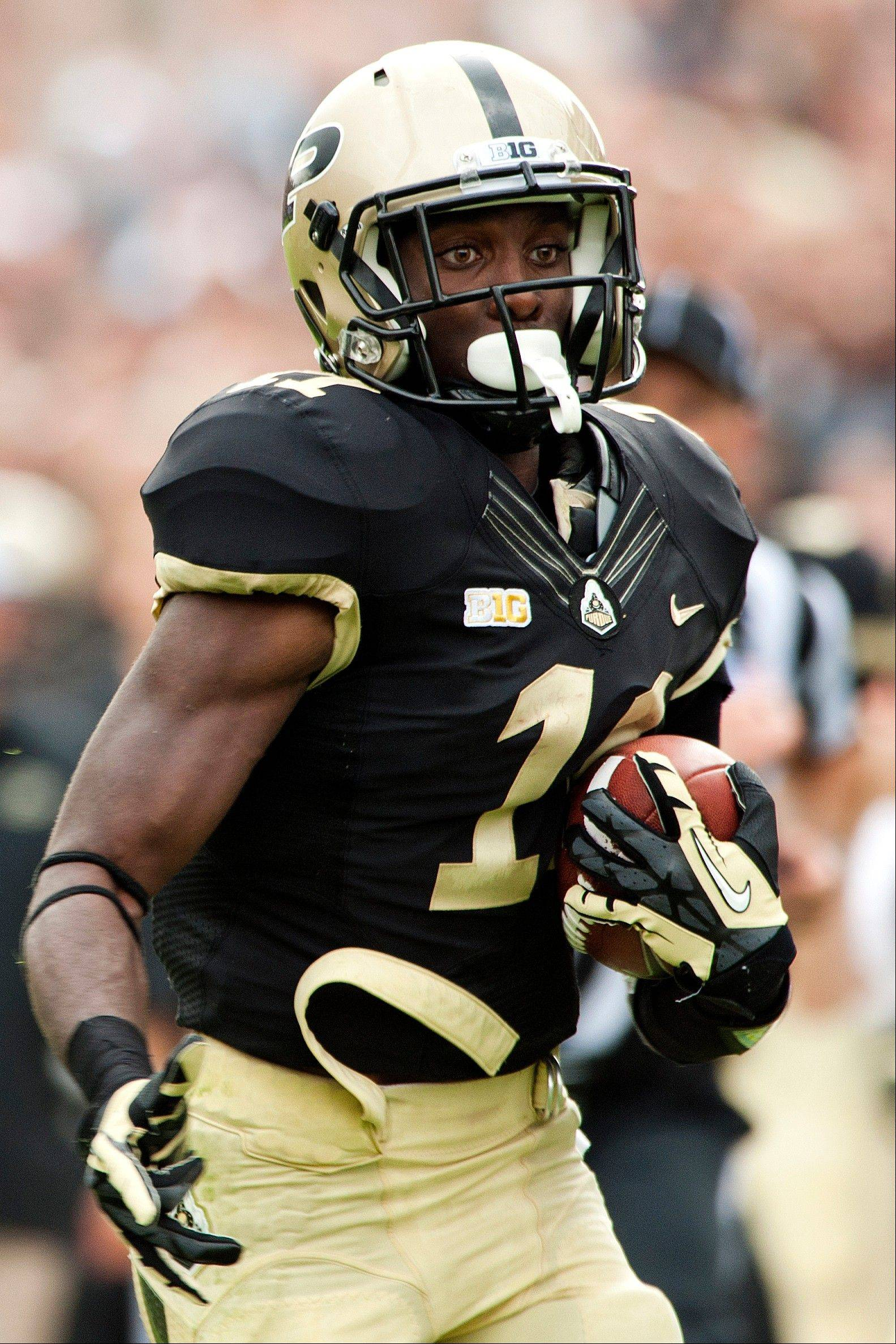 Purdue's Akeem Hunt carries the ball down the sideline against Eastern Kentucky last Saturday in West Lafayette, Ind.