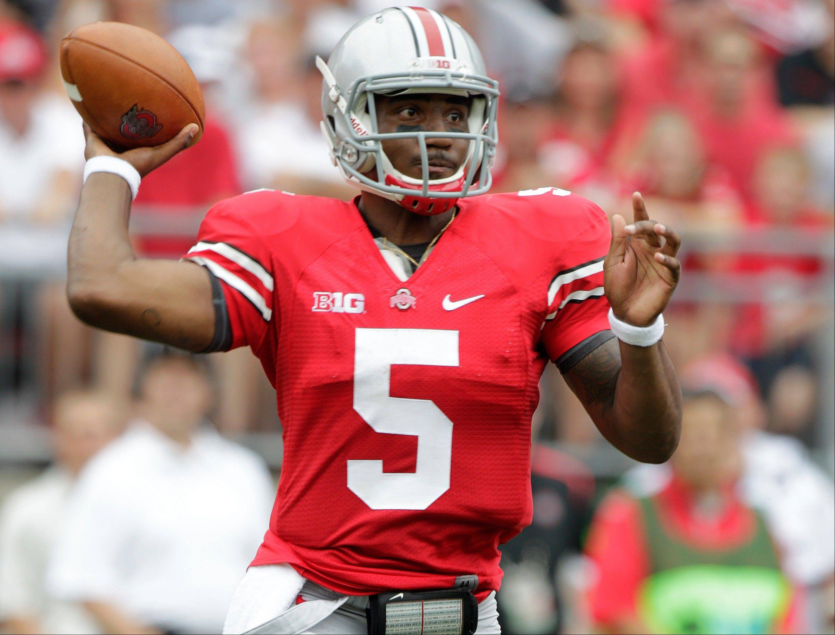 Ohio State quarterback Braxton Miller drops back to pass against Miami of Ohio during the first quarter last Saturday in Columbus, Ohio.