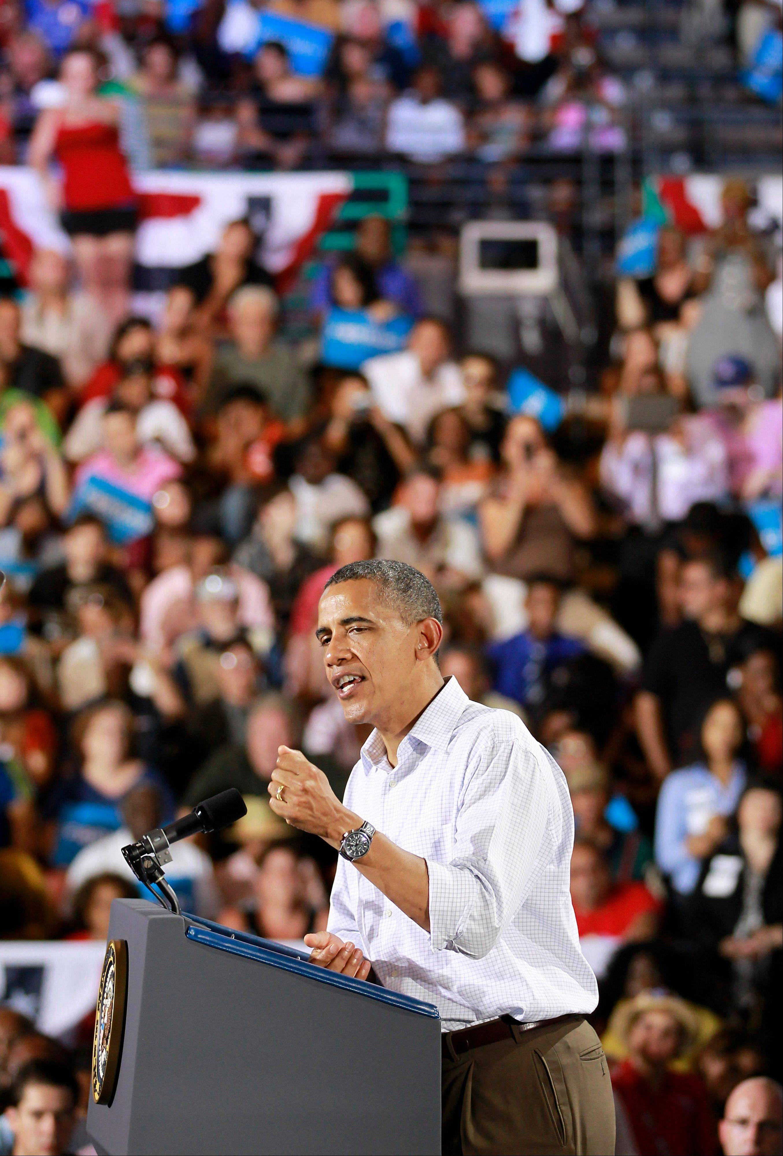 President Barack Obama speaks at a campaign event Saturday in Kissimmee, Fla.