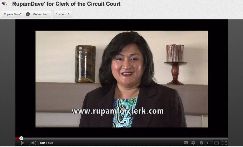 YouTube screen grab Democratic candidate for Lake County Clerk of the Circuit Court Rupam Dave talks about her campaign on a YouTube video.