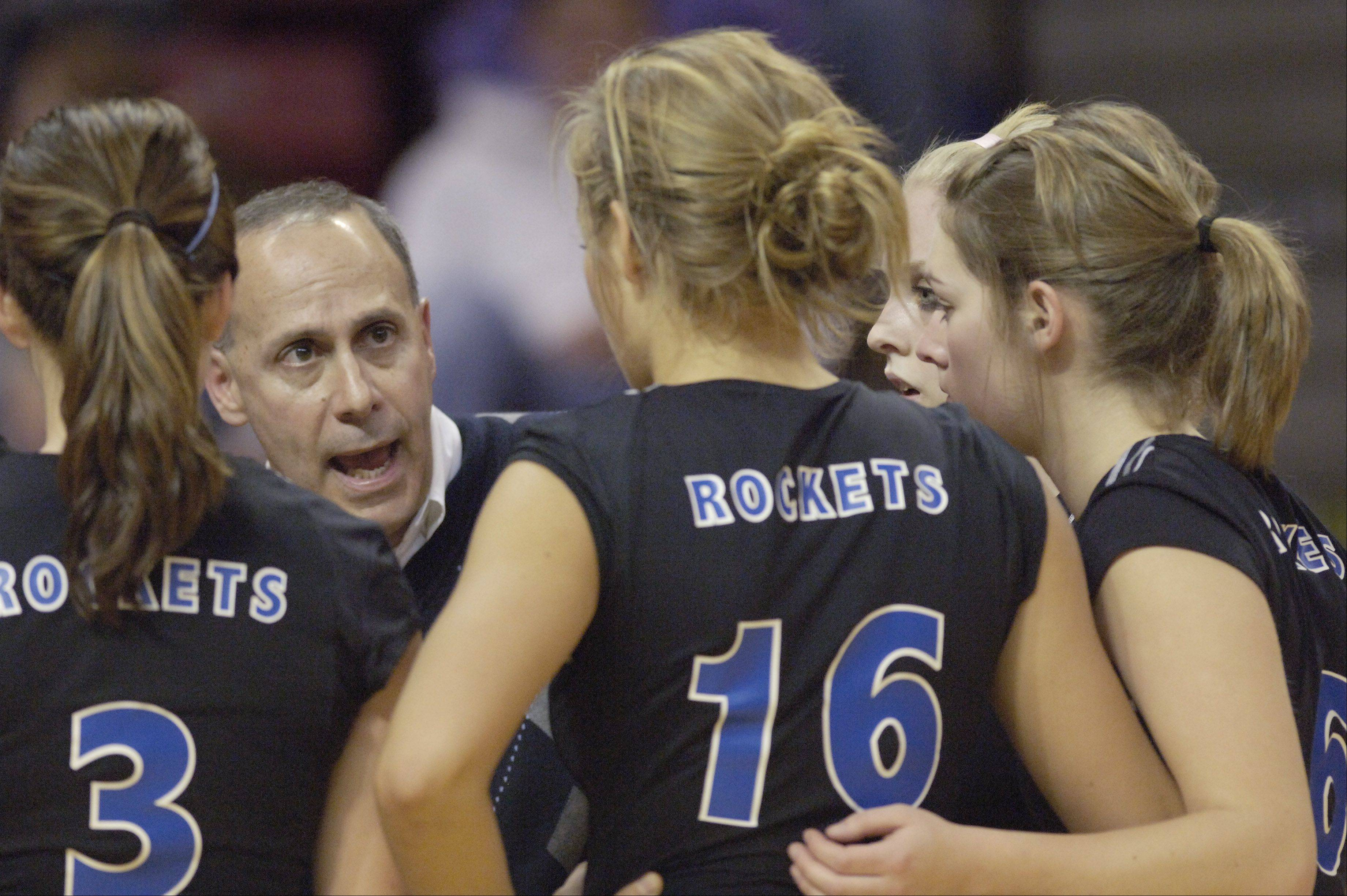 Burlington Central coach Marvin Leavitt talks with his team during a timeout in the 2008 Class 3A state championship match against Joliet Catholic Academy. Leavitt won his 600th career match on Saturday at the DeKalb tournament.