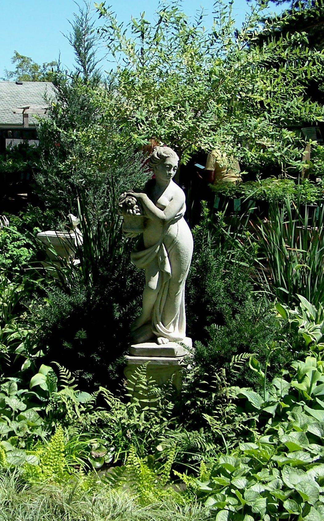An elegant statue stands in the shade garden, creating a focal point.