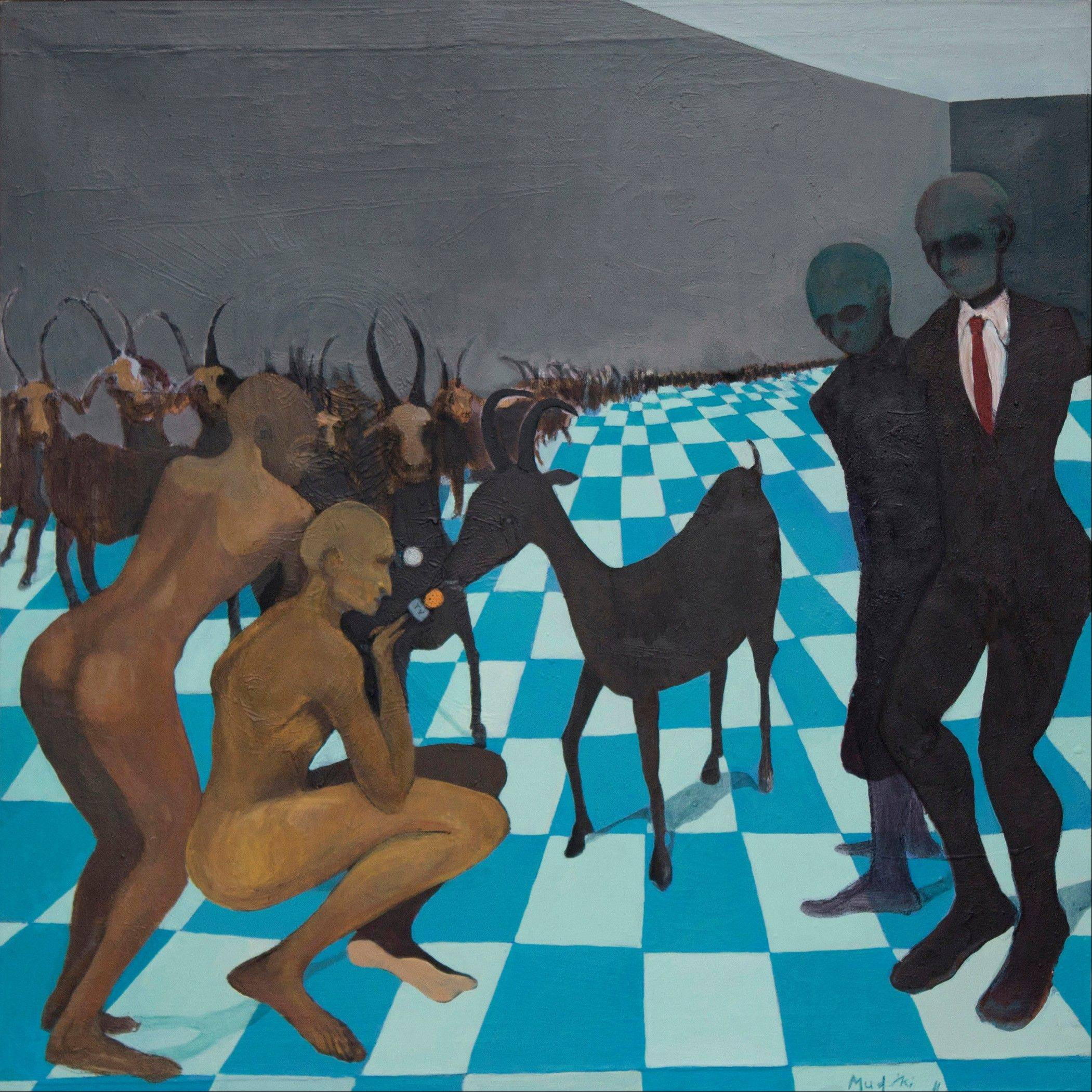 "A reproduction of ""The Goat Interview"" produced in 2011 by emerging Zimbabwean artist Richard Mudariki."