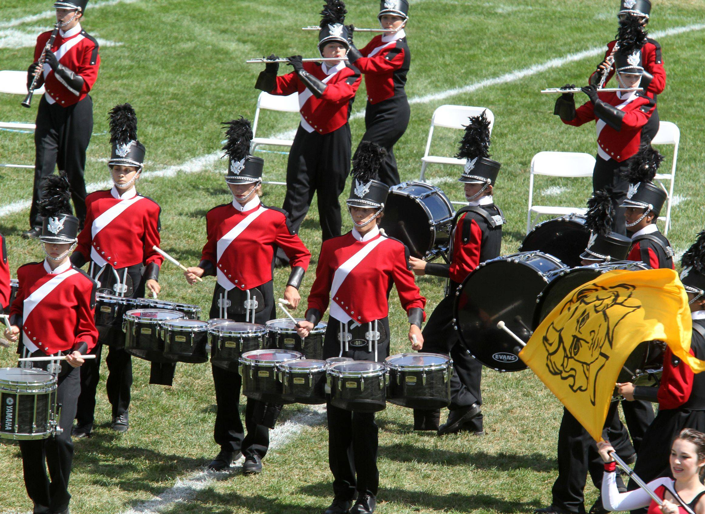 Naperville Central High School competes at the 34th annual Lancer Joust Marching Band Competition at Lake Park High School, West Campus, in Roselle on Saturday.