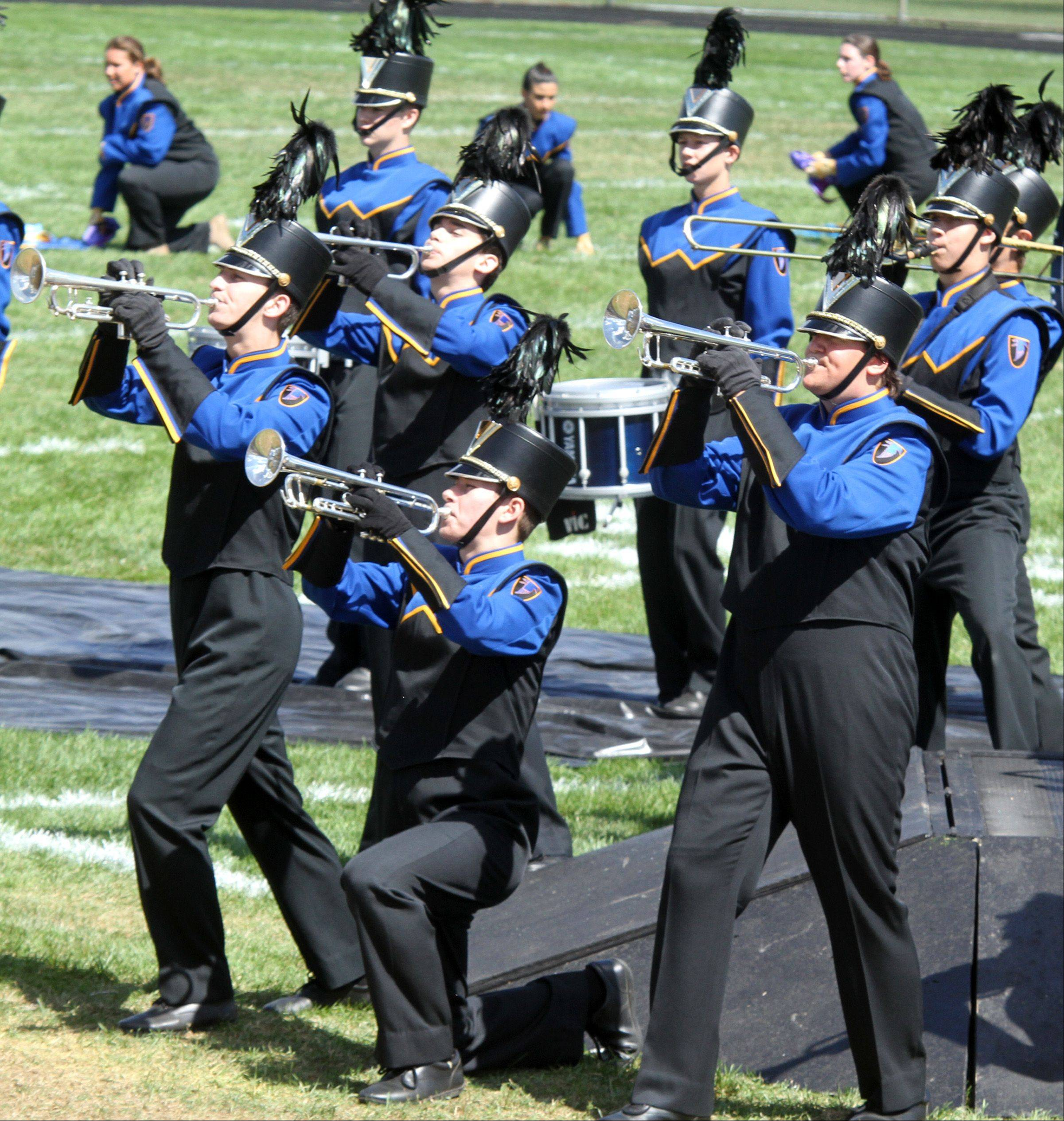 Wheaton North High School competes at the 34th annual Lancer Joust Marching Band Competition at Lake Park High School, West Campus, in Roselle on Saturday.