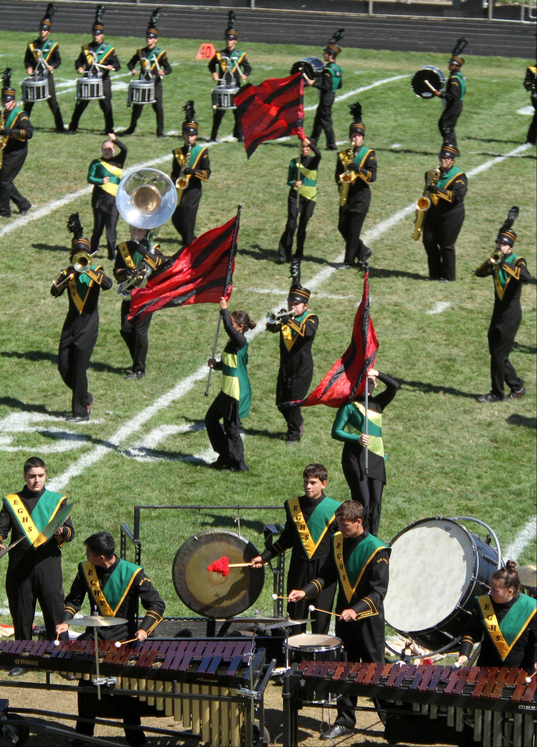 Elk Grove High School competes at the 34th annual Lancer Joust Marching Band Competition at Lake Park High School, West Campus, in Roselle on Saturday.