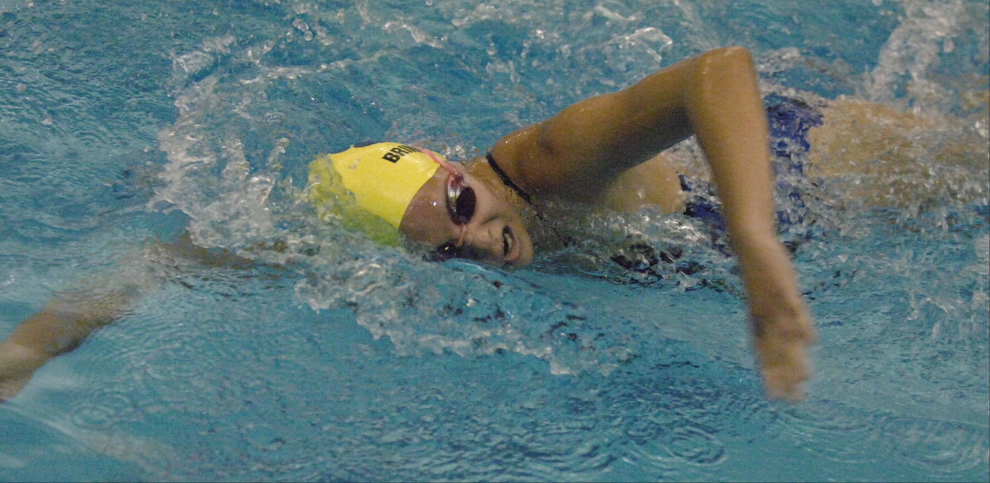 Grace Brinker of Neuqua swims the 200 IM during the Neuqua Valley girls swimming invitational Saturday.