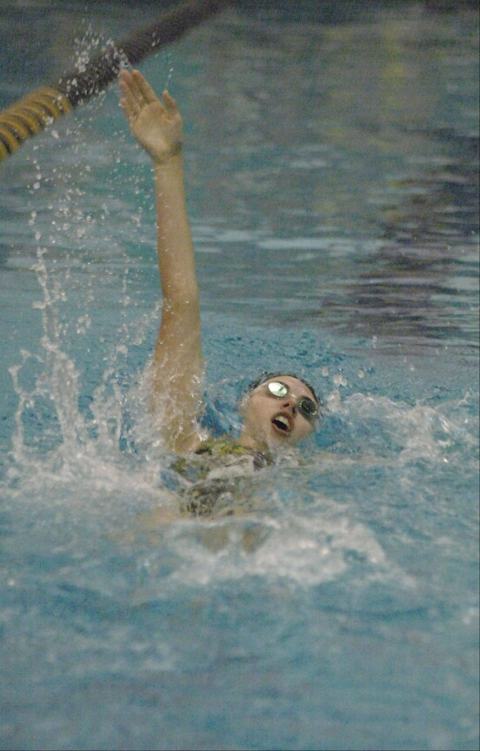 Katelyn Deters of Metea swims the 200 IM during the Neuqua Valley girls swimming invitational Saturday.