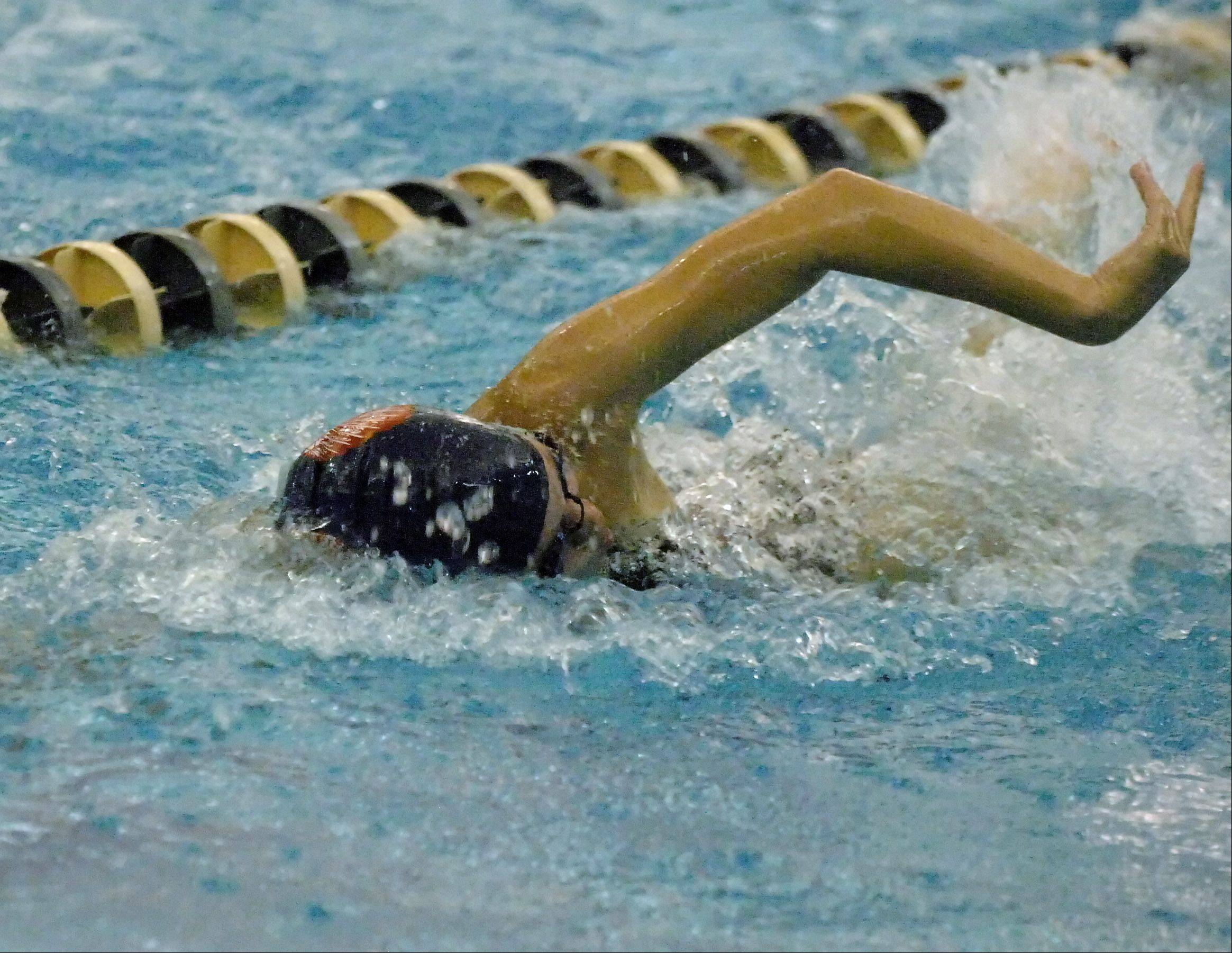 Mary Houlihan of West Aurora High School swims the 50 free during the Neuqua Valley girls swimming invitational Saturday.