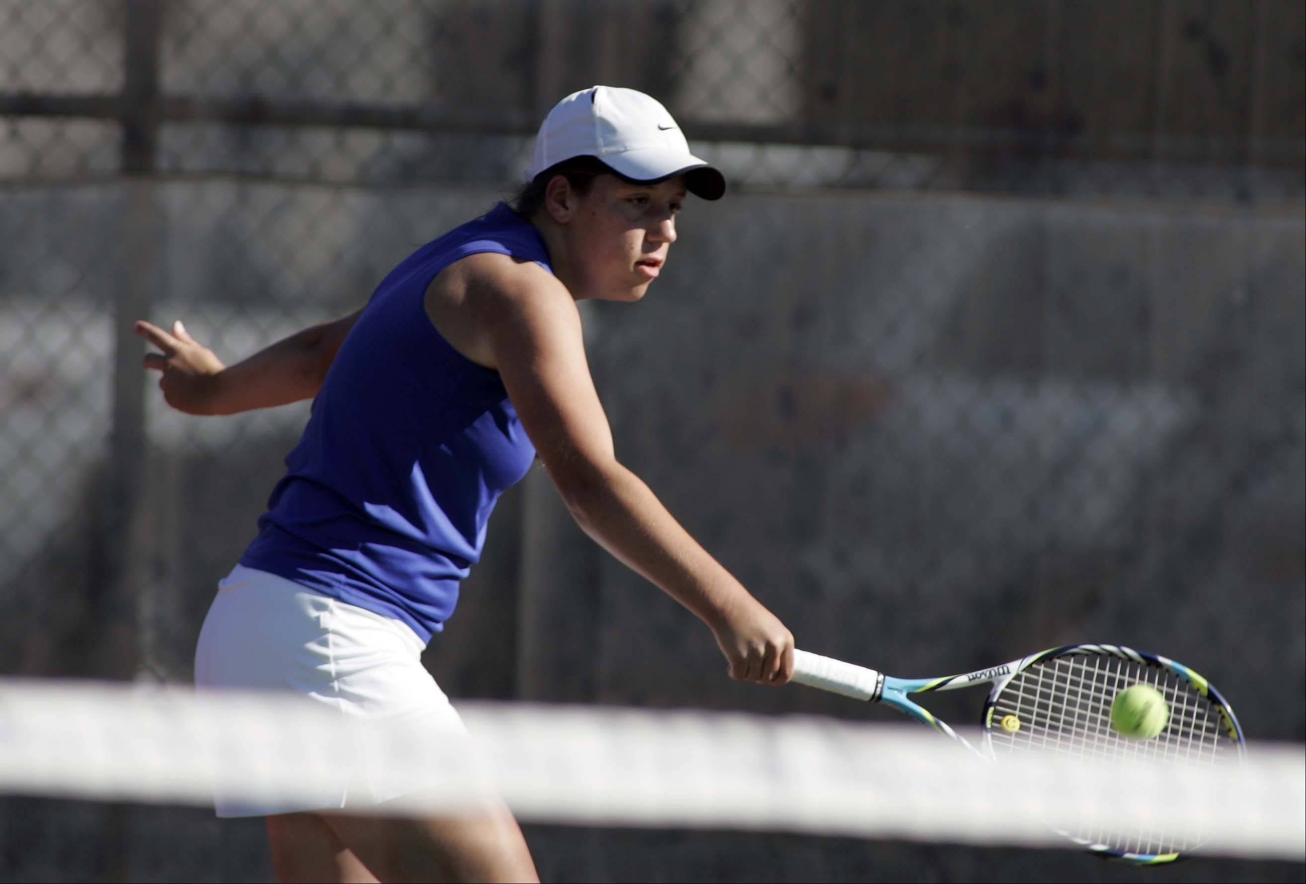 Wheaton North's Grace Richards during the St. Charles East girls tennis invite Saturday September 8, 2012.