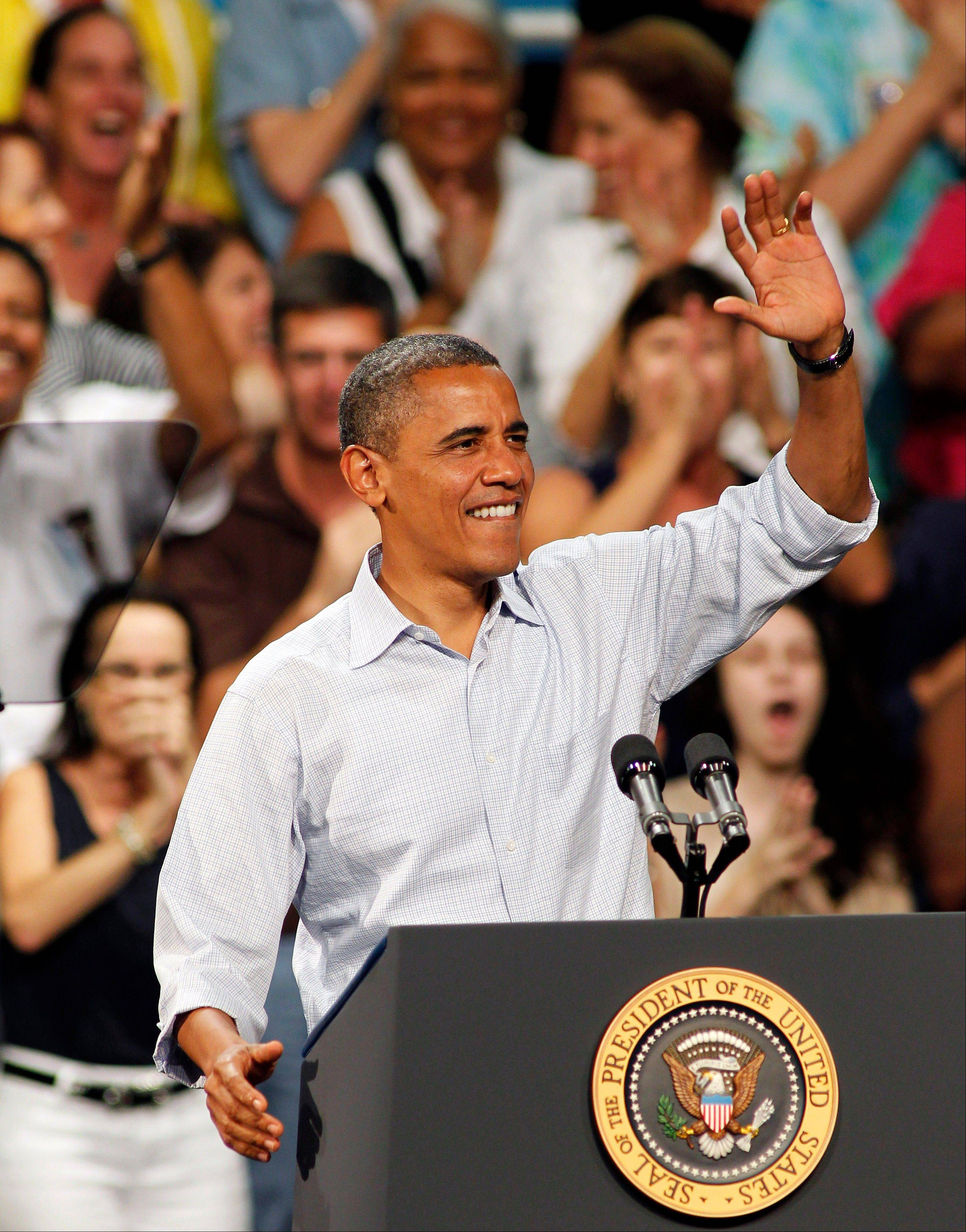 President Barack Obama speaks at the Palm Beach County Convention Center in West Palm Beach, Fla., Sunday.