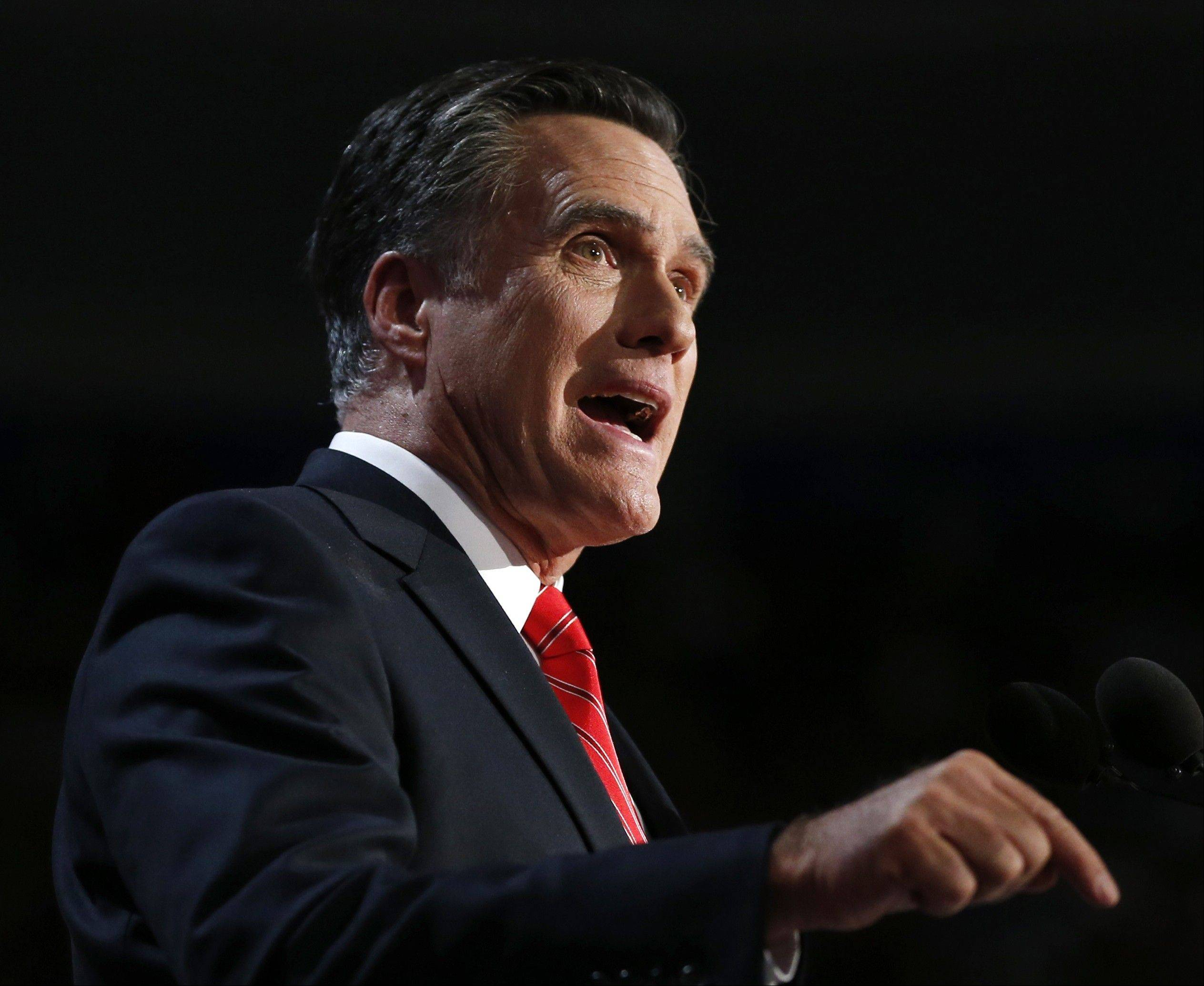 In this Aug. 30, 2012 photo, Republican presidential candidate, former Massachusetts Gov. Mitt Romney speaks at the Republican National Convention in Tampa, Fla.