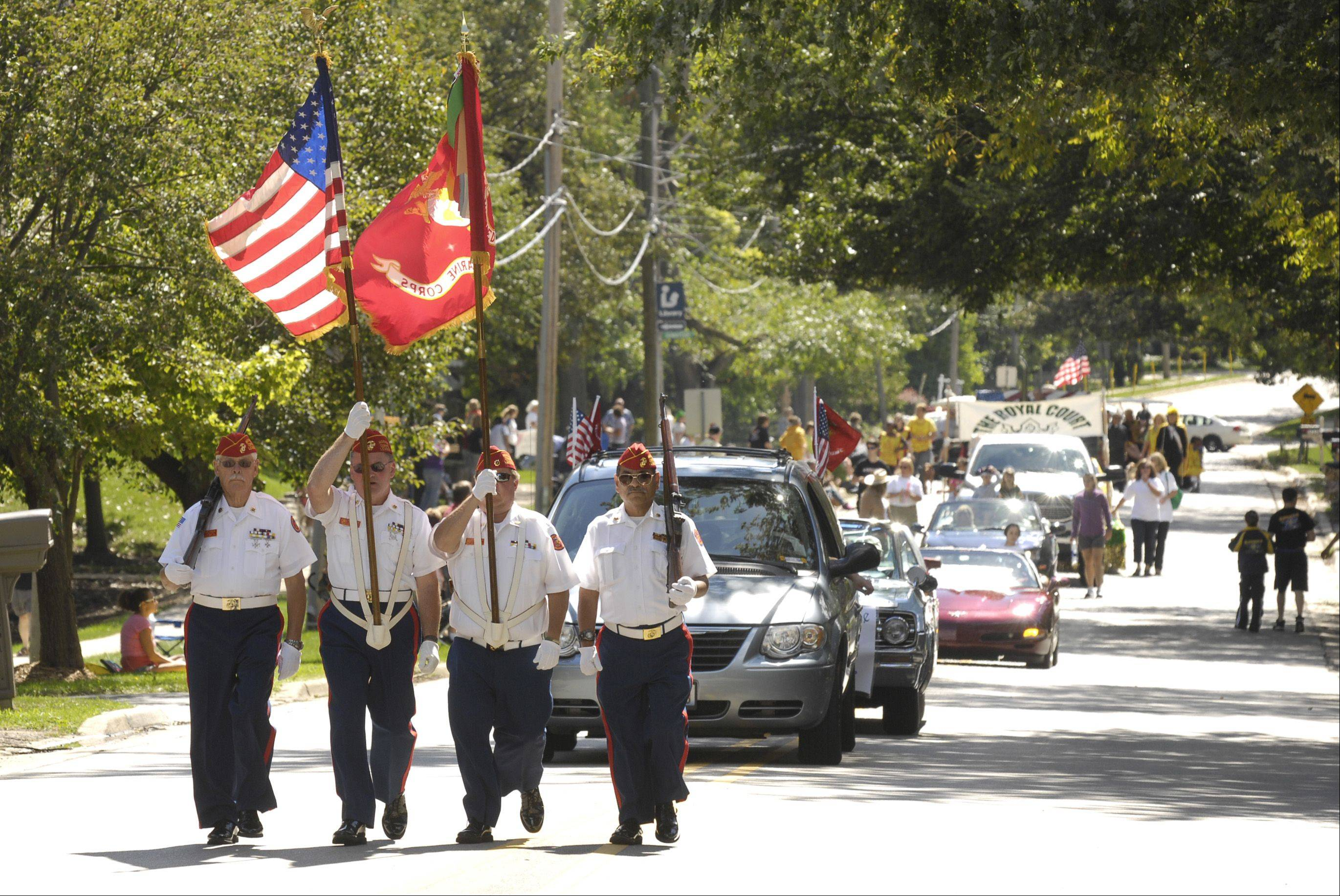 Members of the DuPage County Marines, Marine Corps League march in Winfield's Good Old Day festival parade Sunday.