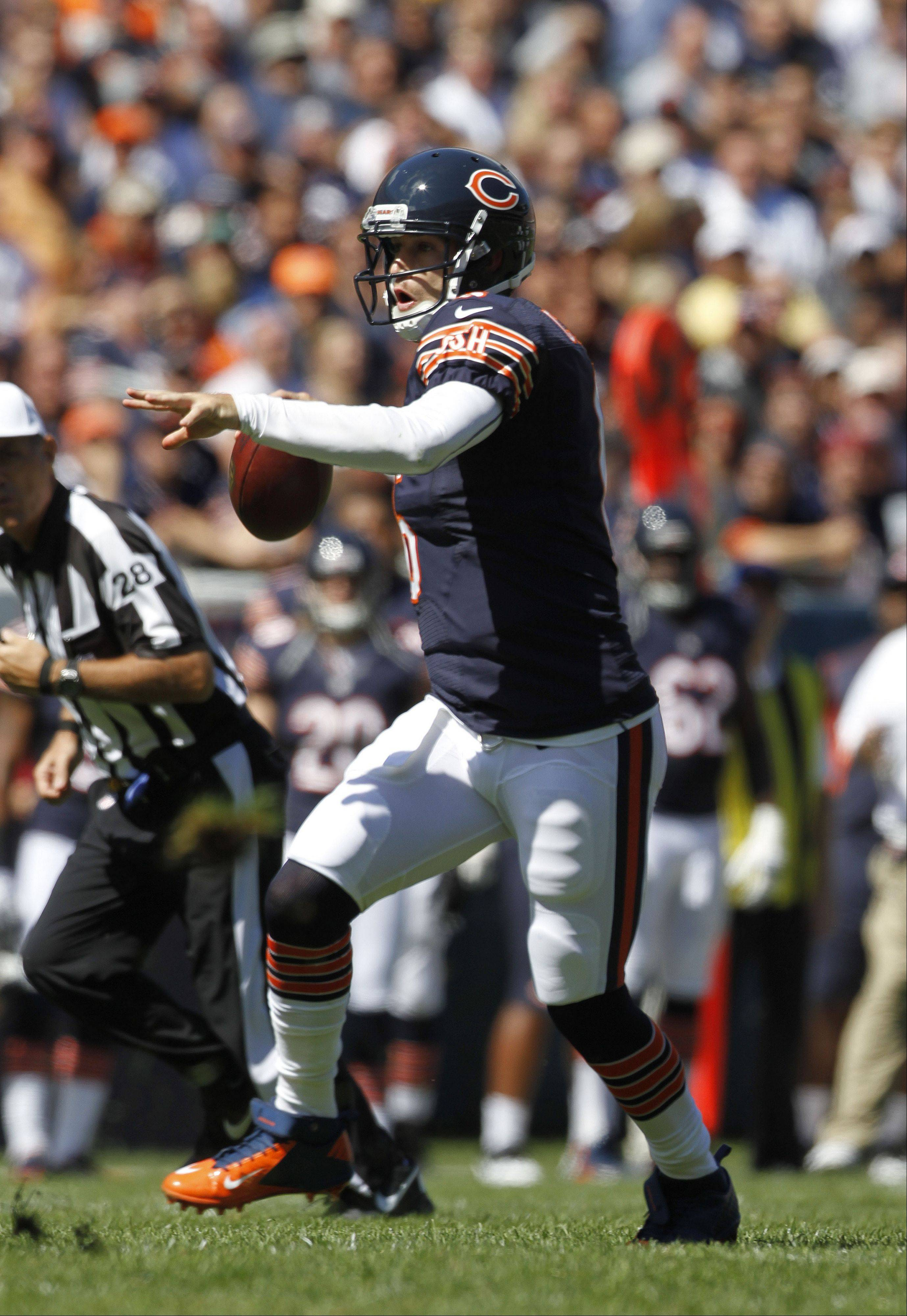 After a slow start, Bears quarterback Jay Cutler finished with 333 yards passing in Sunday's victory over the Colts.