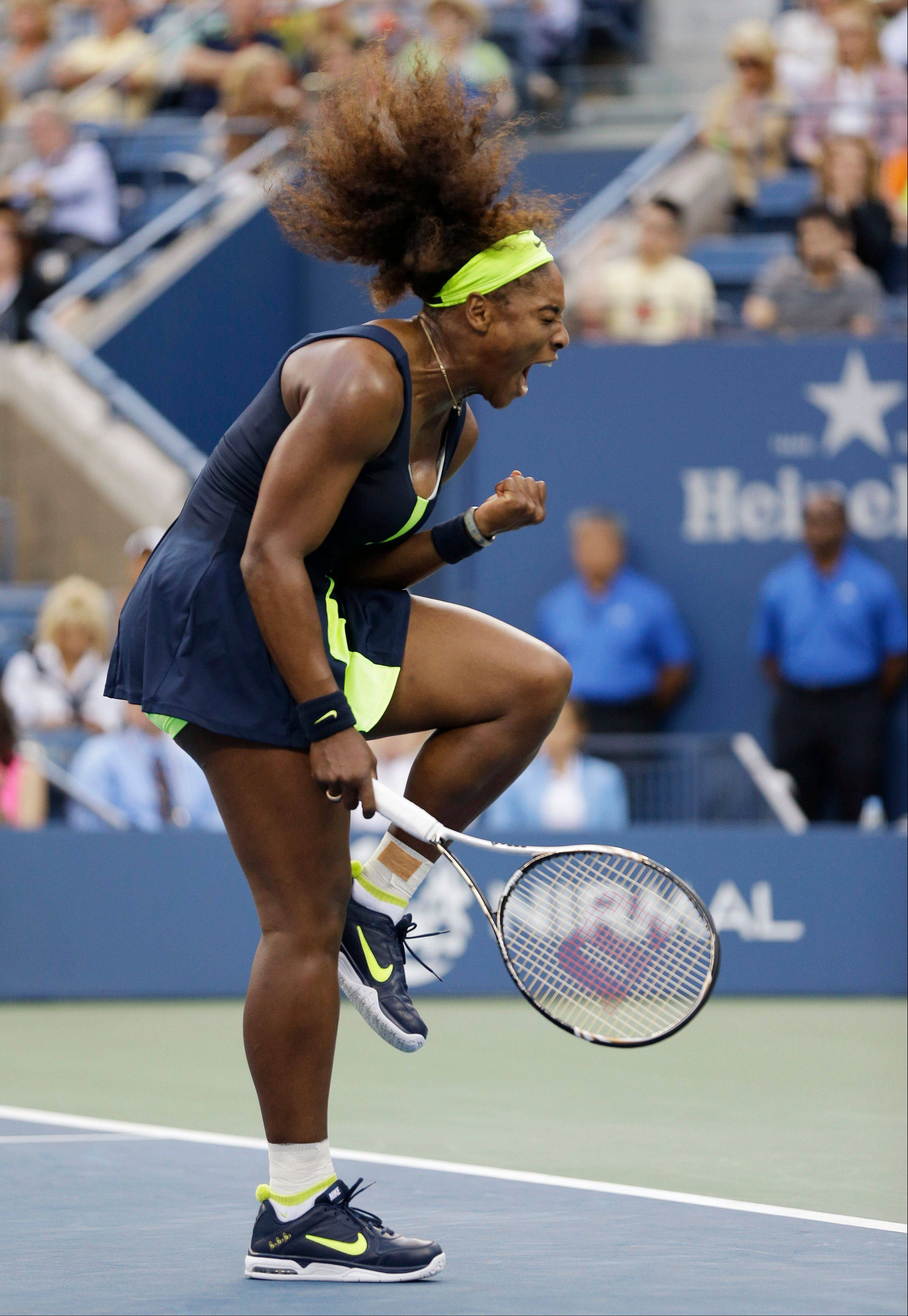 Serena Williams reacts Sunday during her U.S. Open title match against Victoria Azarenka of Belarus.